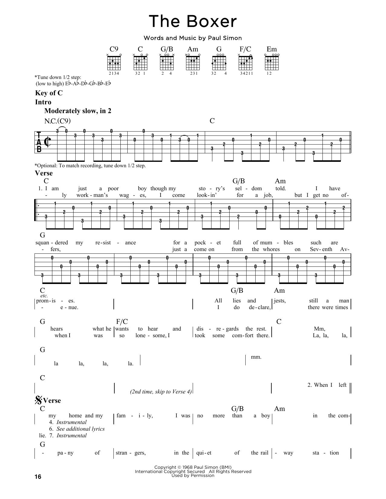 Partition autre The Boxer de Simon & Garfunkel - Tablature Guitare Lead
