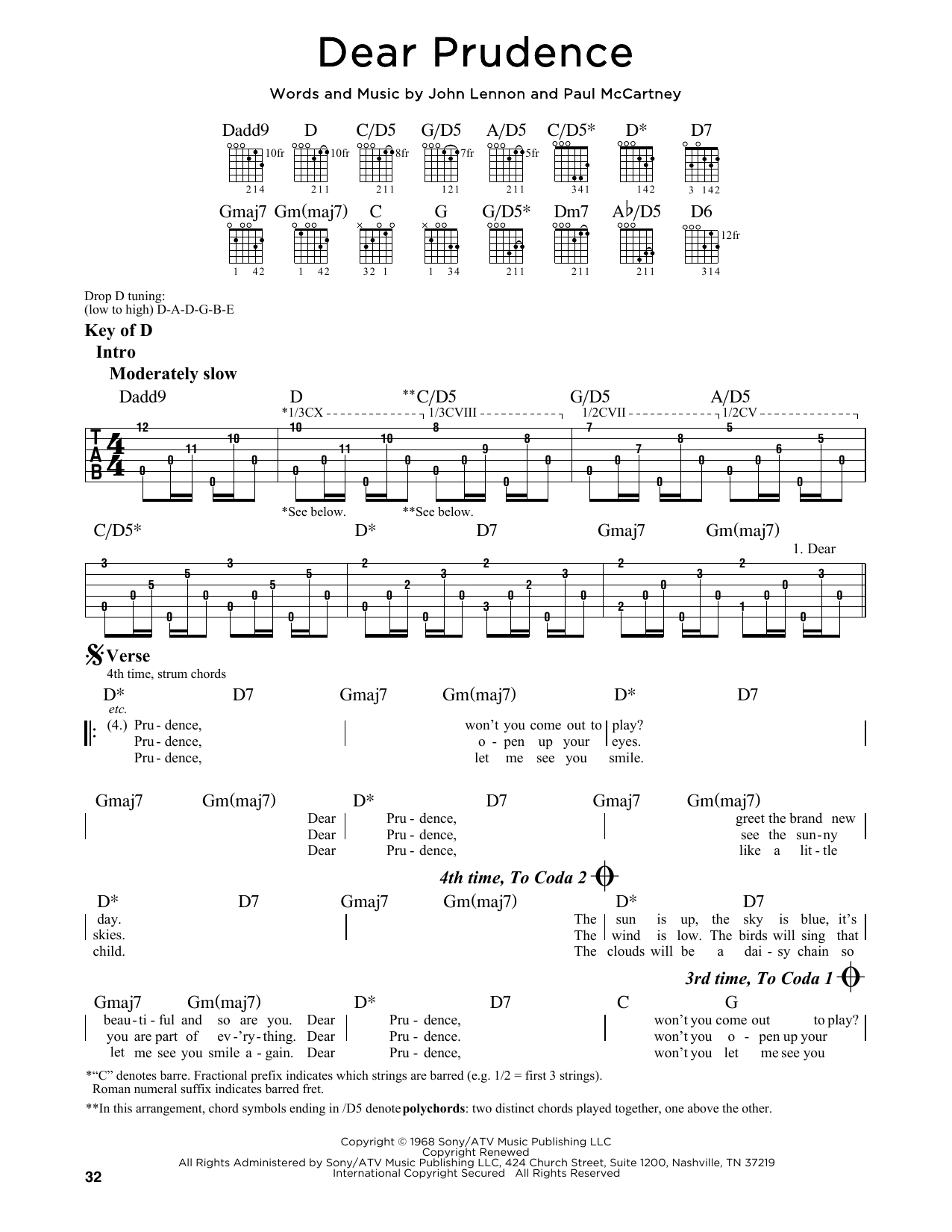 Tablature guitare Dear Prudence de The Beatles - Tablature Guitare Lead