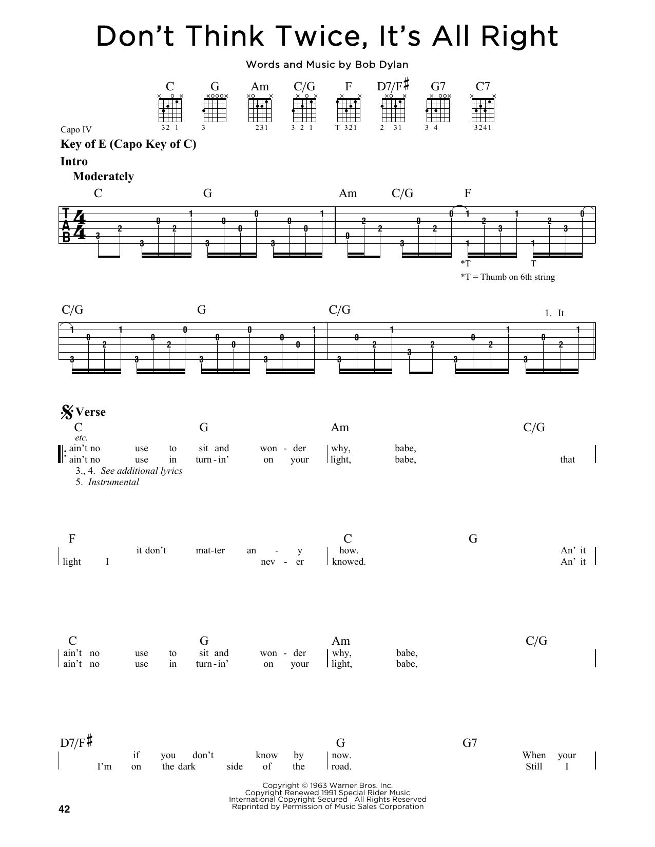 Tablature guitare Don't Think Twice, It's All Right de Bob Dylan - Tablature Guitare Lead