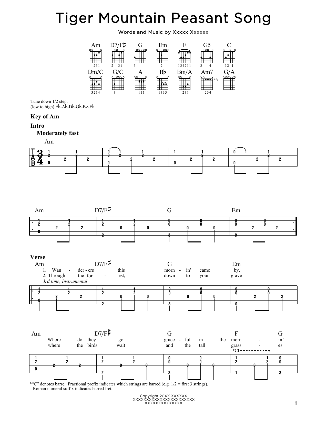 Tablature guitare Tiger Mountain Peasant Song de Fleet Foxes - Tablature Guitare Lead