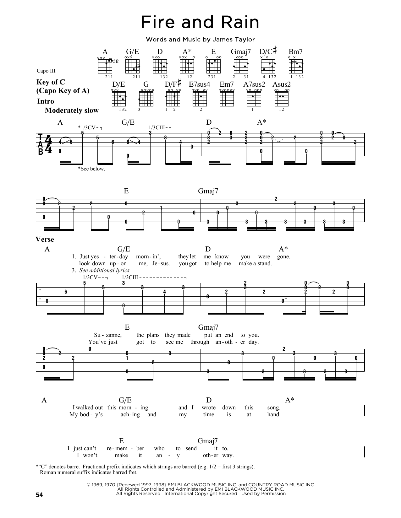 Tablature guitare Fire And Rain de James Taylor - Tablature Guitare Lead