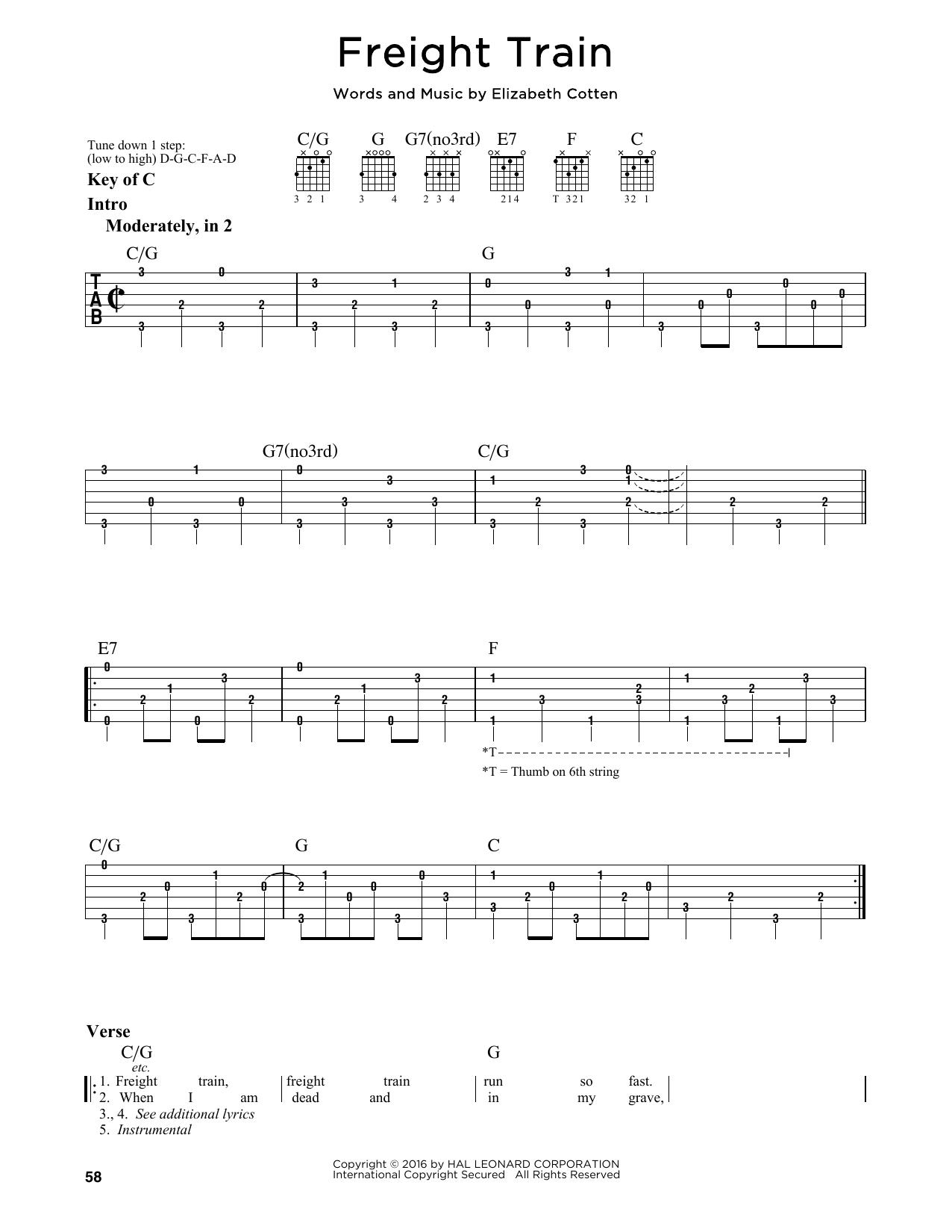 Tablature guitare Freight Train de Elizabeth Cotten - Tablature Guitare Lead