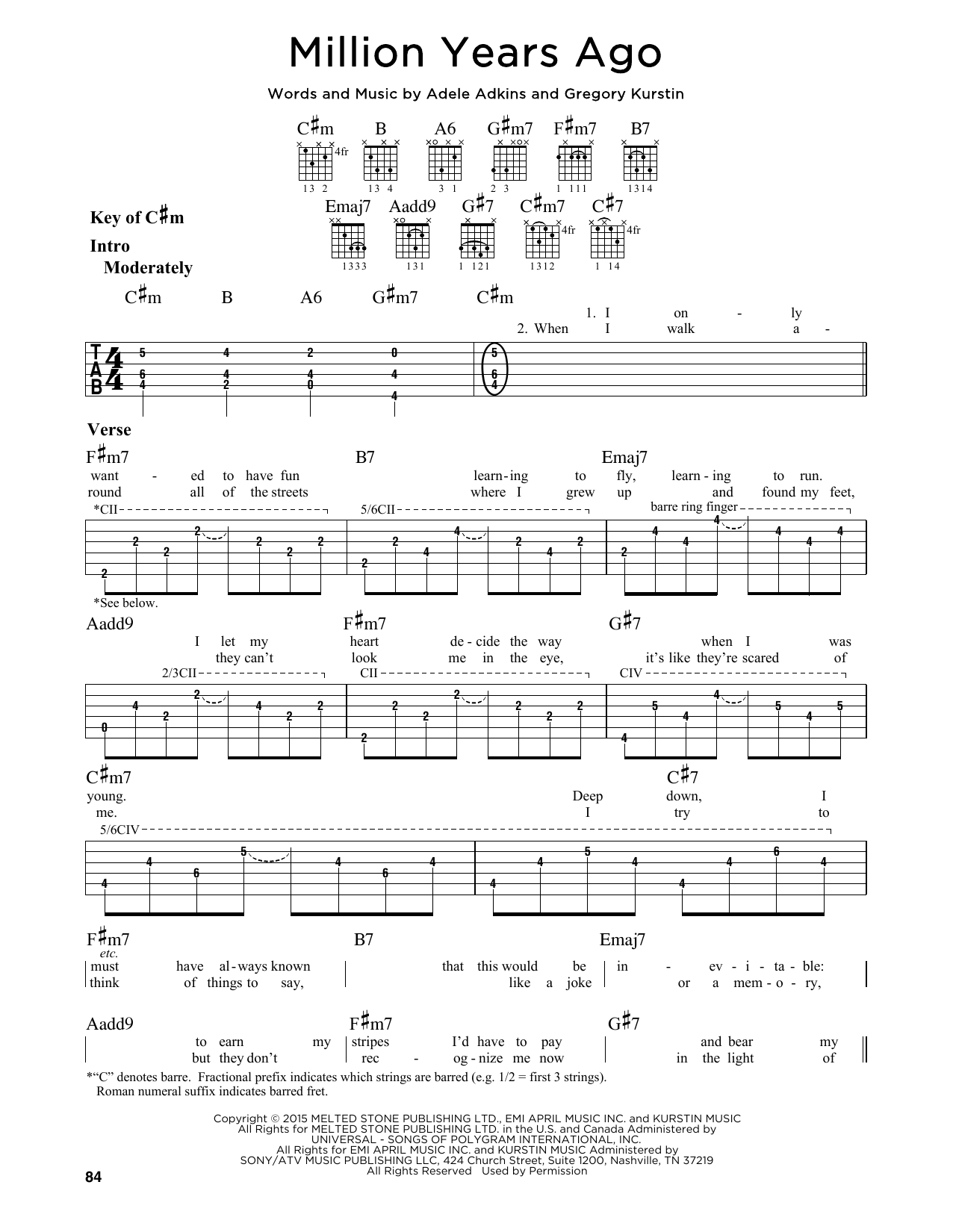 Tablature guitare Million Years Ago de Adele - Tablature Guitare Lead