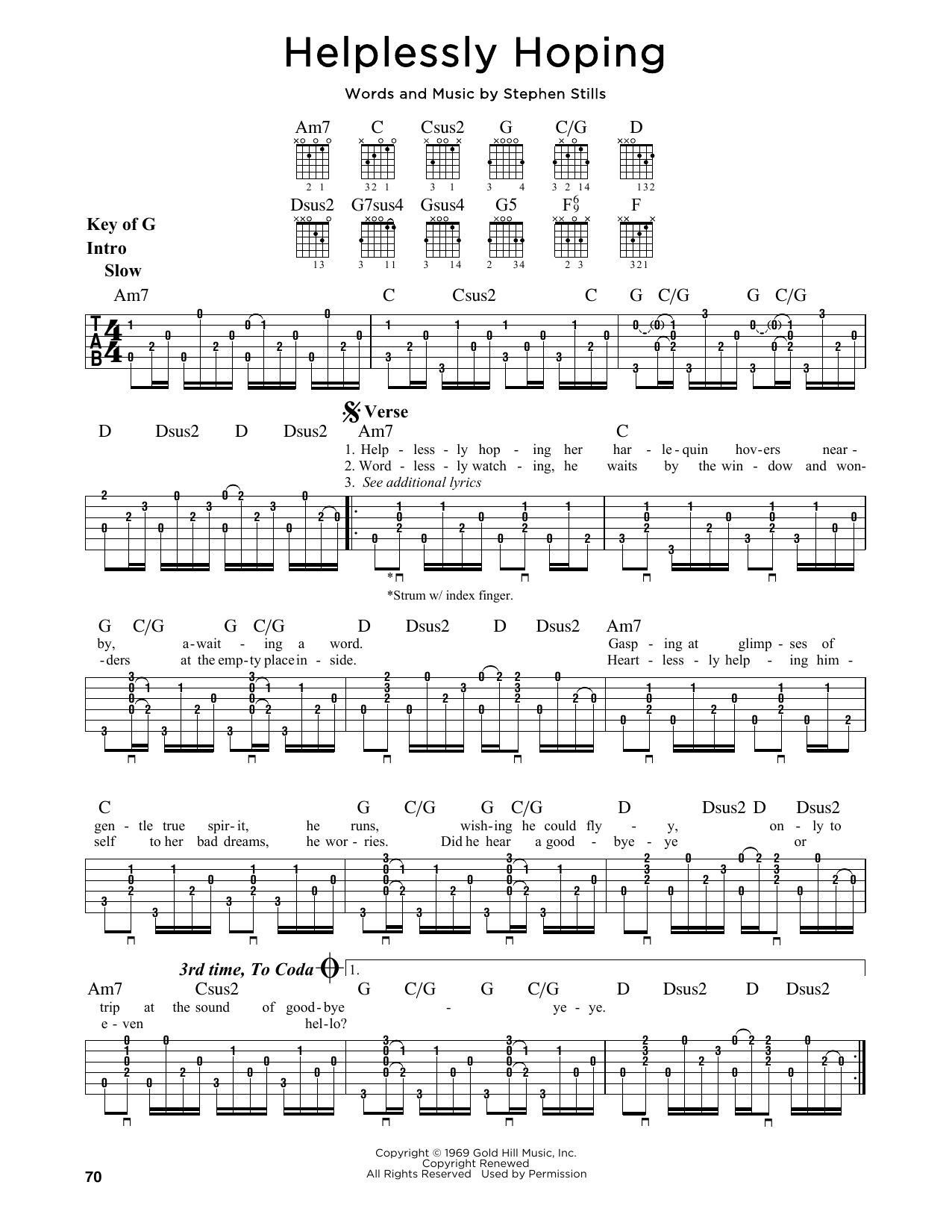 Partition autre Helplessly Hoping de Crosby, Stills and Nash - Tablature Guitare Lead