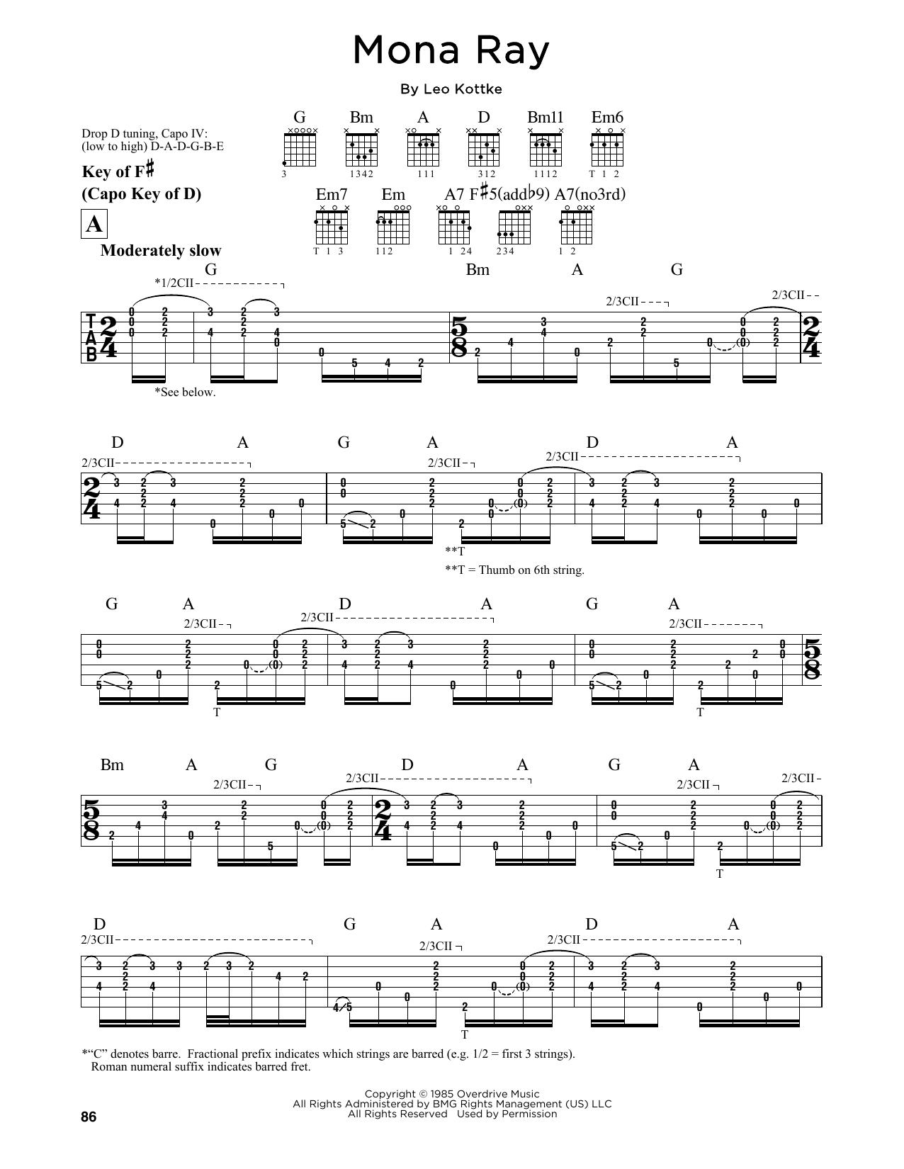 Partition autre Mona Ray de Leo Kottke - Tablature Guitare Lead