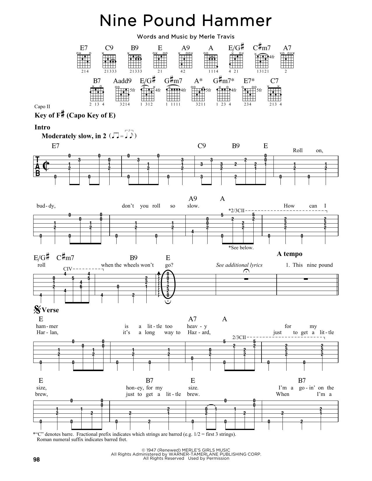 Tablature guitare Nine Pound Hammer de Merle Travis - Tablature Guitare Lead