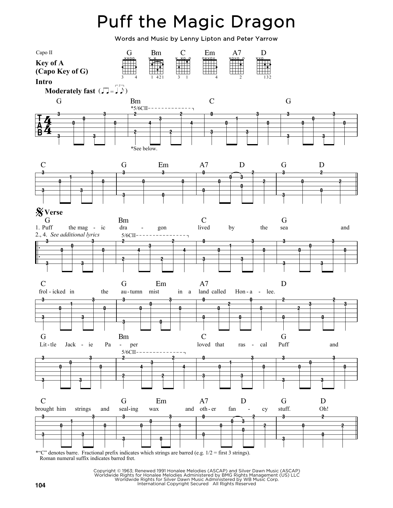Tablature guitare Puff The Magic Dragon de Peter, Paul & Mary - Tablature Guitare Lead