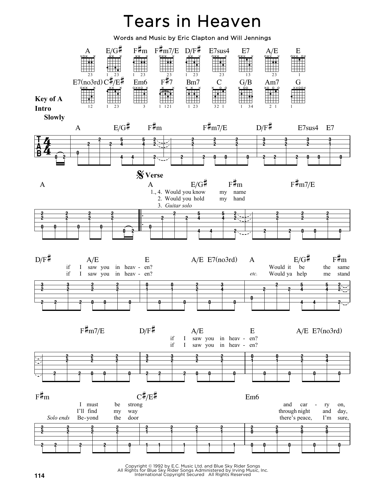 Tablature guitare Tears In Heaven de Eric Clapton - Tablature Guitare Lead