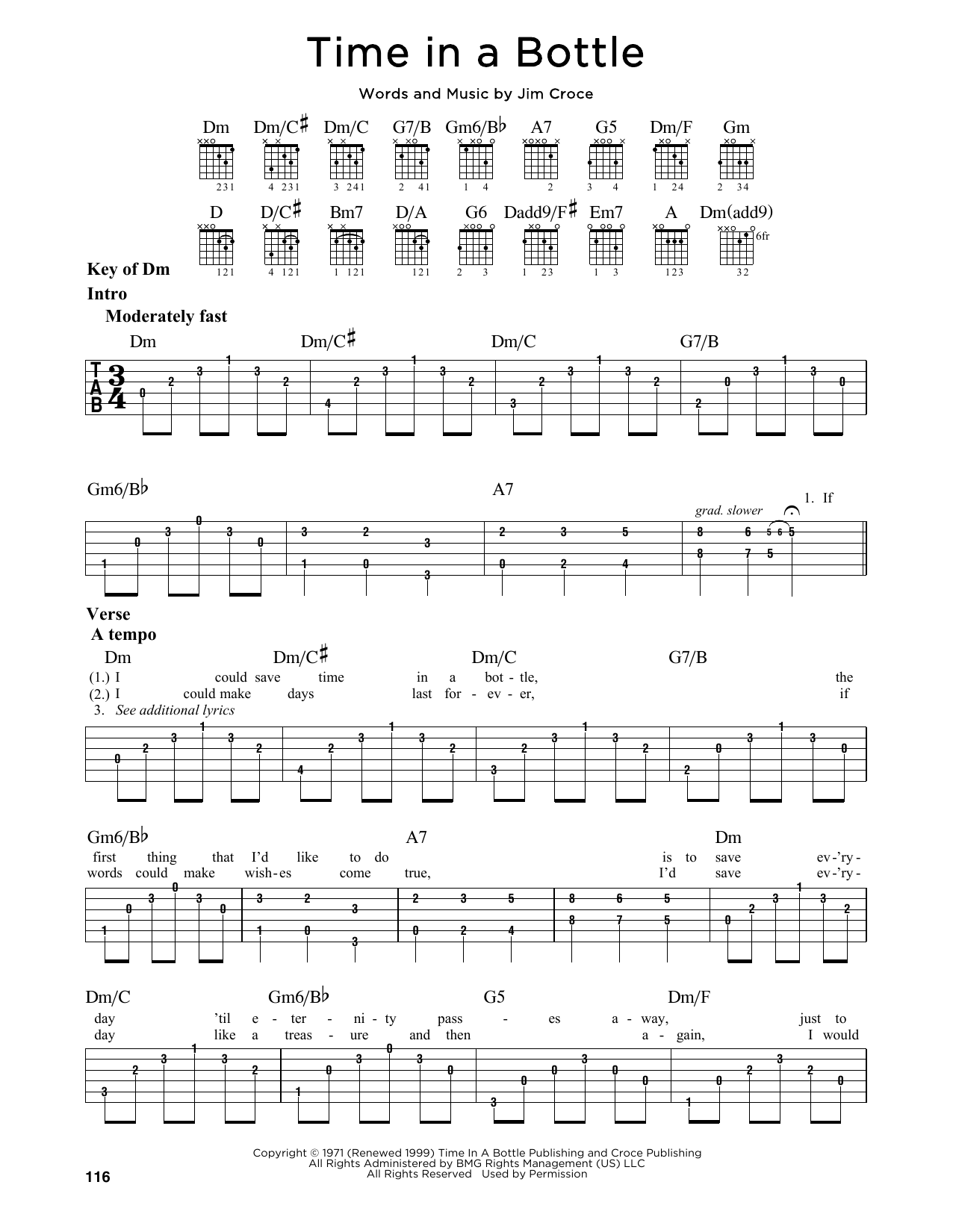 Tablature guitare Time In A Bottle de Jim Croce - Tablature Guitare Lead