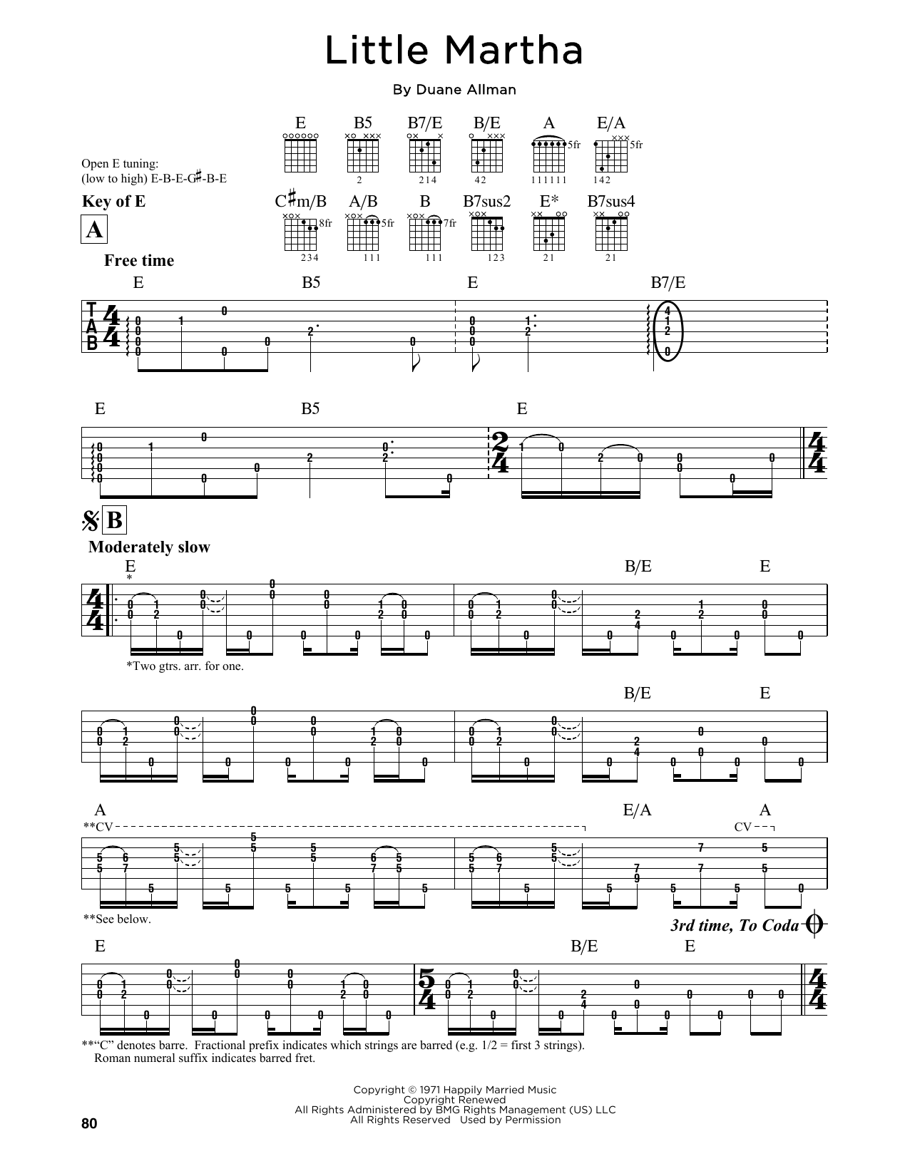 Tablature guitare Little Martha de Duane Allman - Tablature Guitare Lead