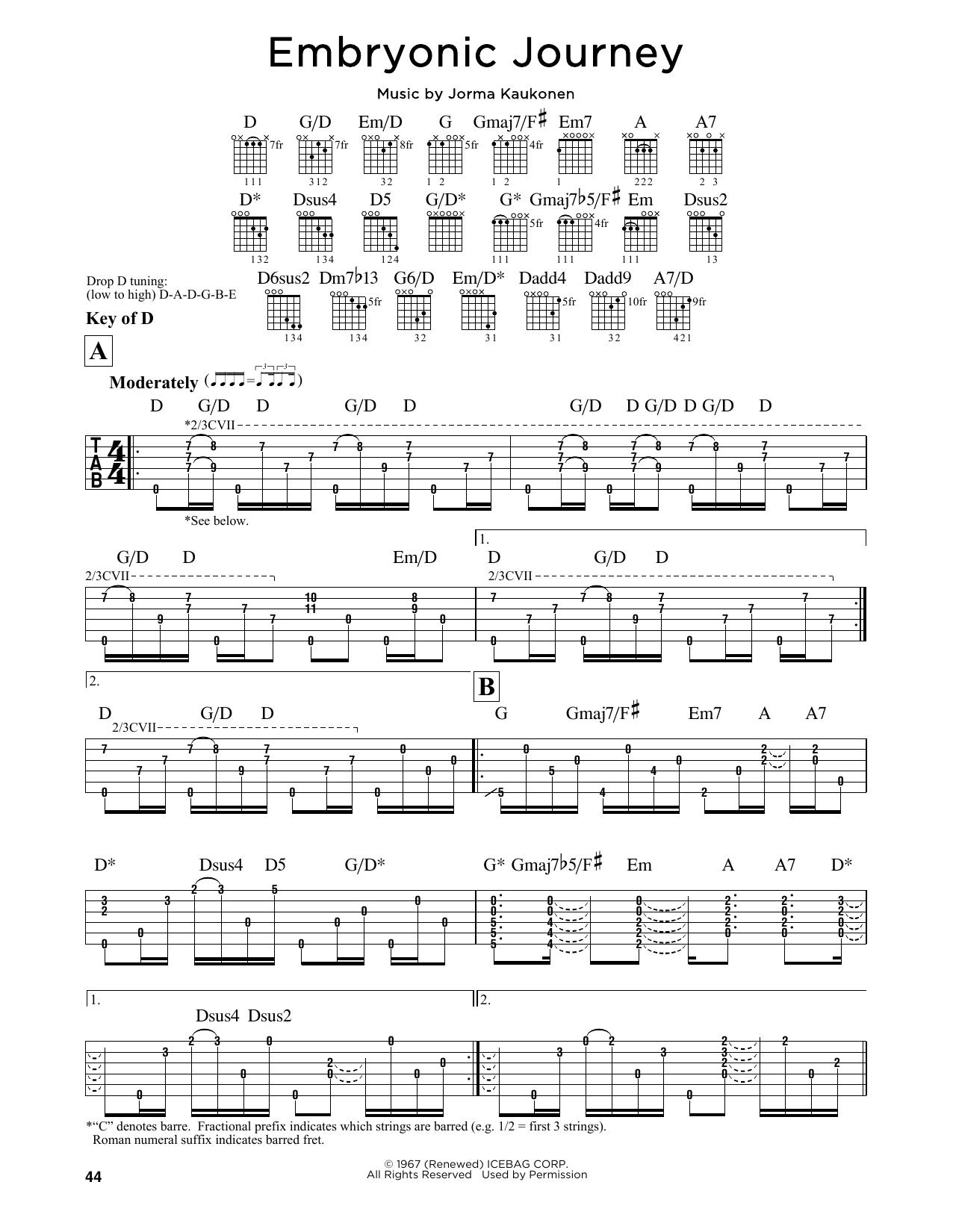 Tablature guitare Embryonic Journey de Jefferson Airplane - Tablature Guitare Lead