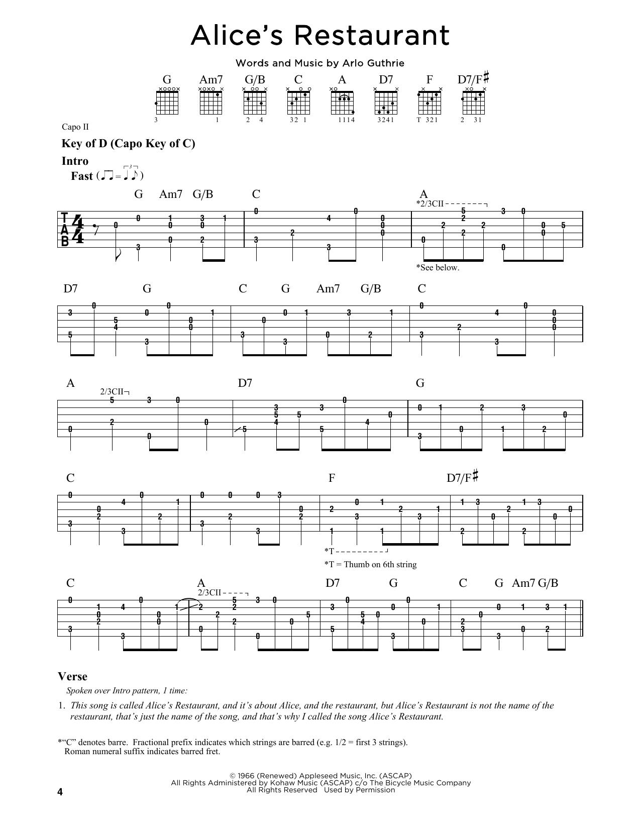 Tablature guitare Alice's Restaurant de Arlo Guthrie - Tablature Guitare Lead