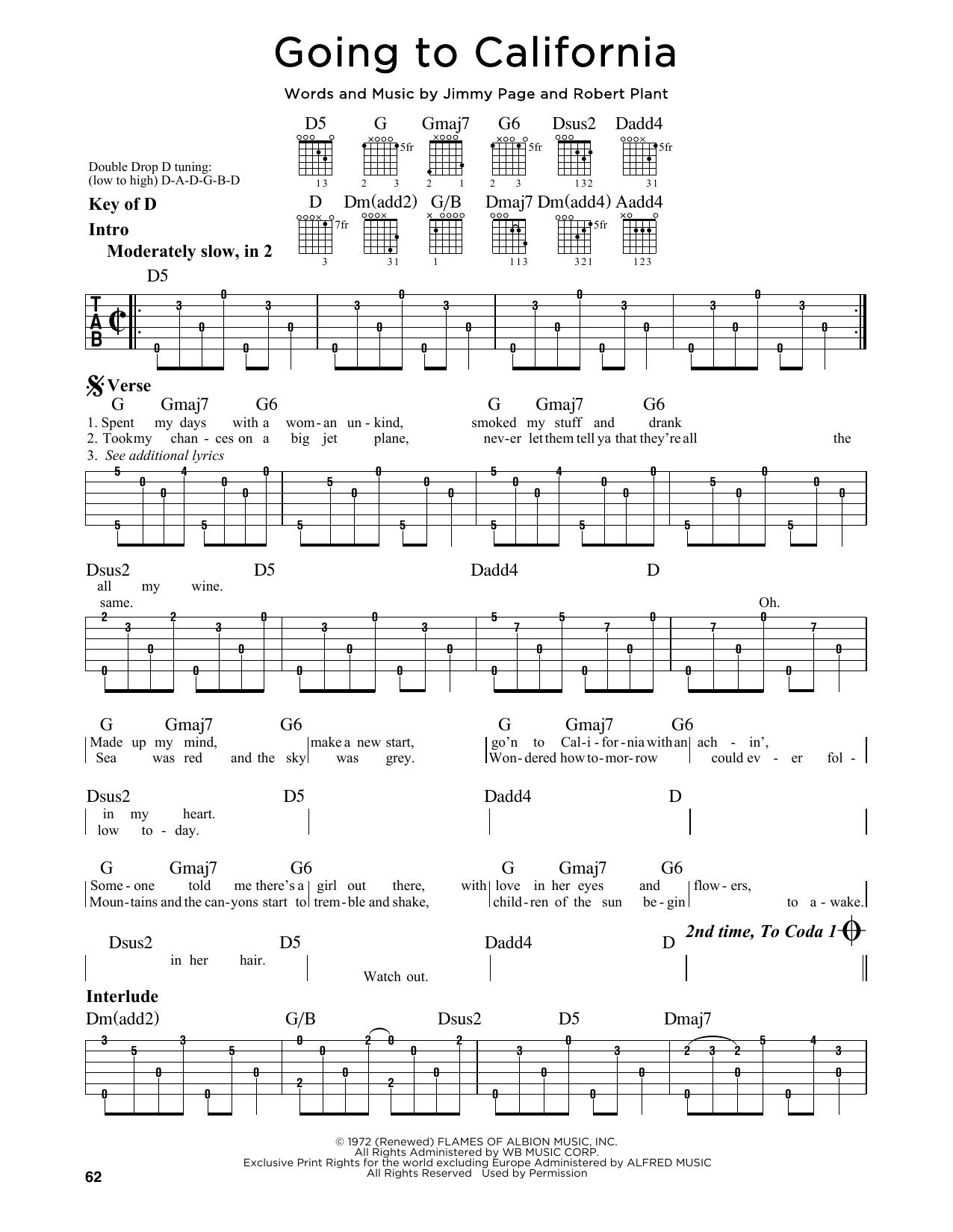 Partition autre Going To California de Led Zeppelin - Tablature Guitare Lead