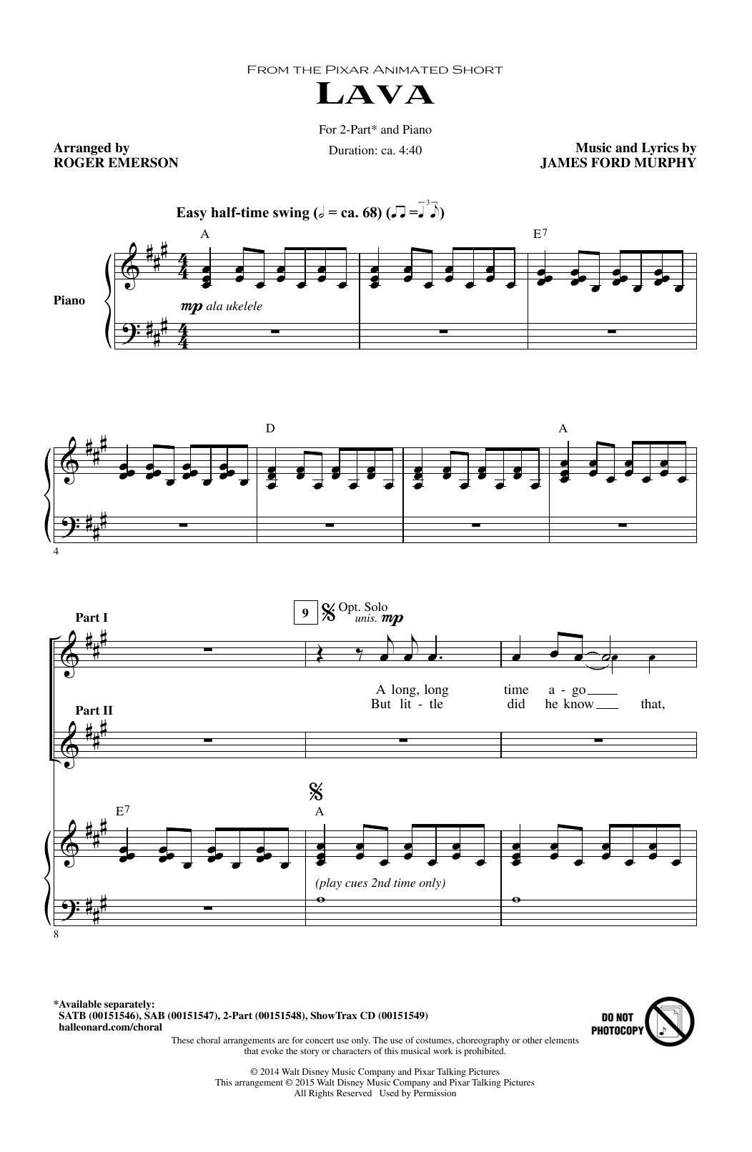 Partition chorale Lava (arr. Roger Emerson) de Kuana Torres Kahele - 2 voix