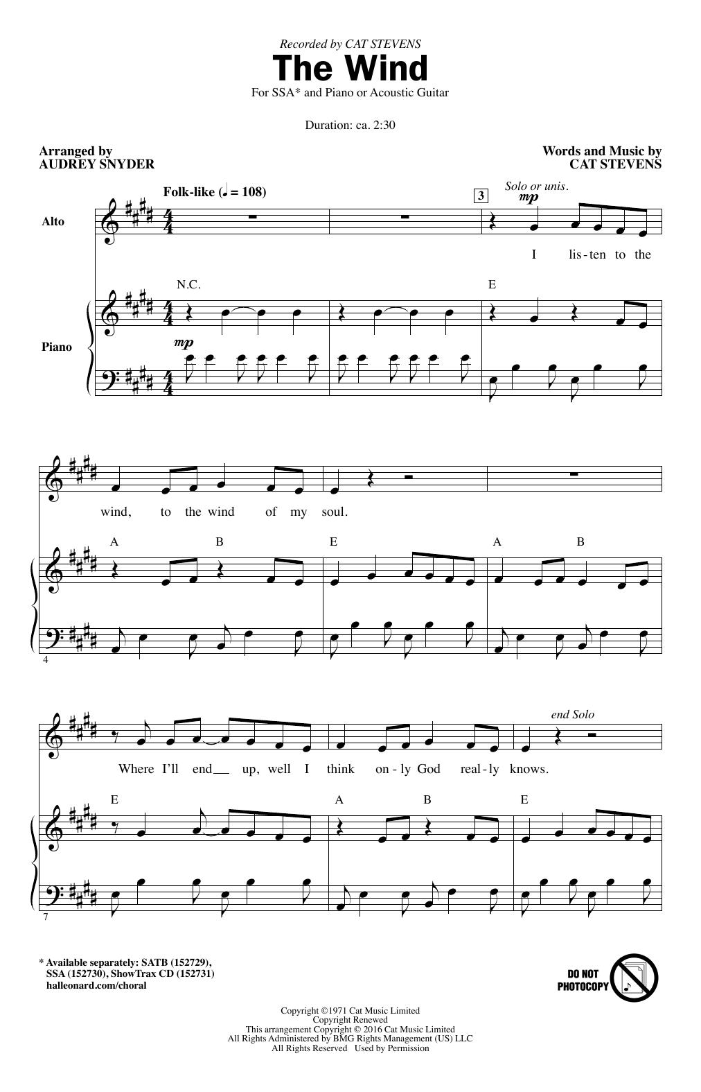 Partition chorale The Wind de Cat Stevens - SSA
