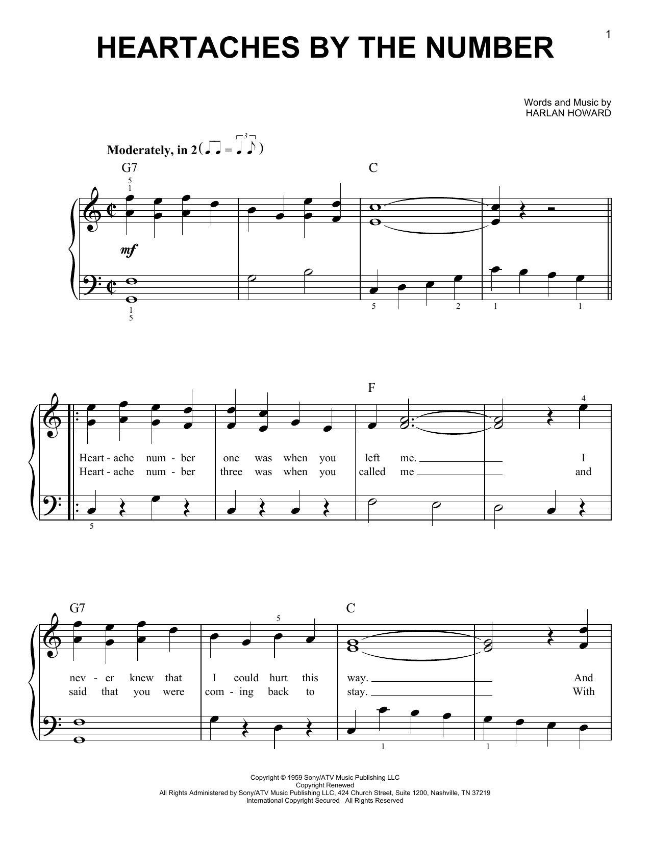 Partition piano Heartaches By The Number de Ray Price - Piano Facile