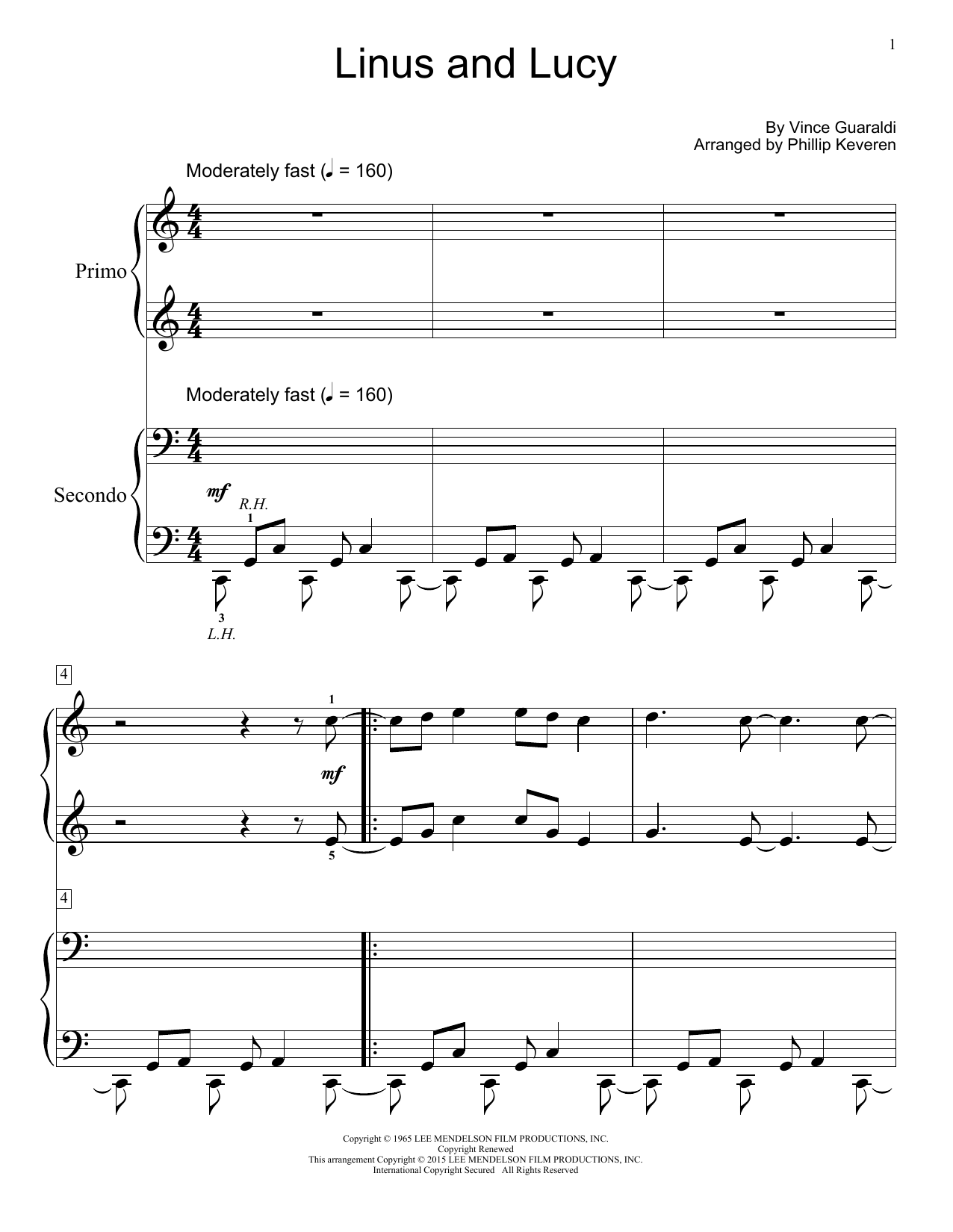 Linus and Lucy - Early Intermediate Level 4 Showcase Solos Pop Duet for One Piano, by Vince Guaraldi
