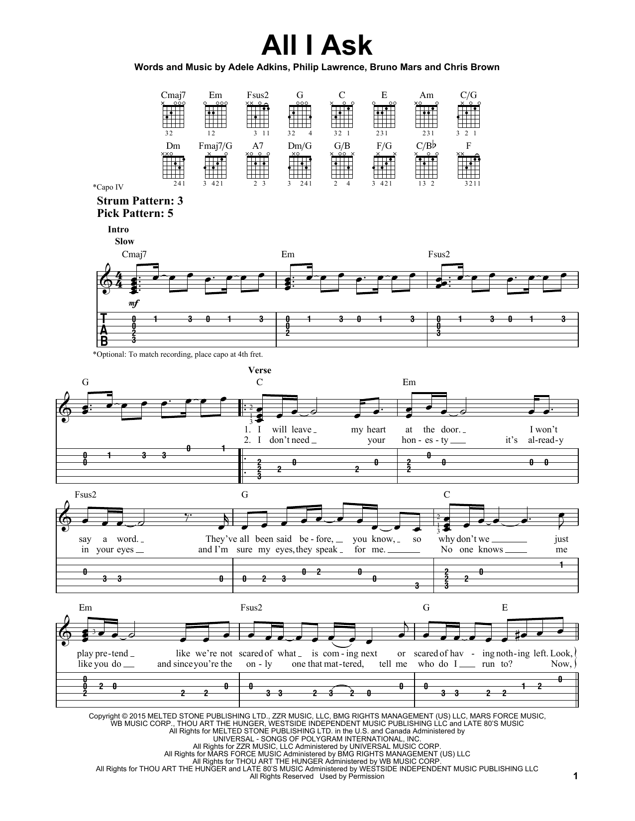 All i ask sheet music by adele easy guitar tab 163619