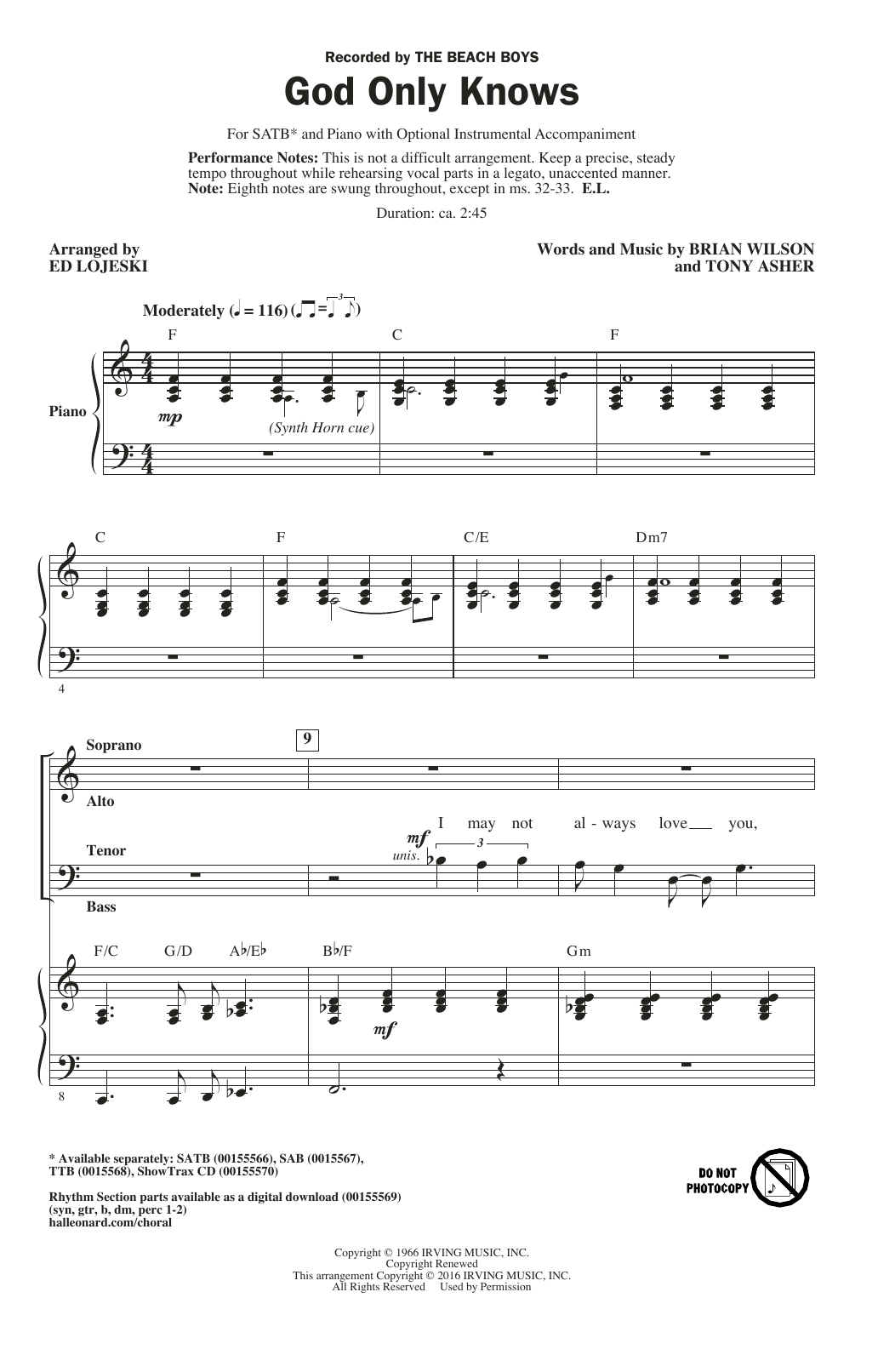 Partition chorale God Only Knows (arr. Ed Lojeski) de The Beach Boys - SATB