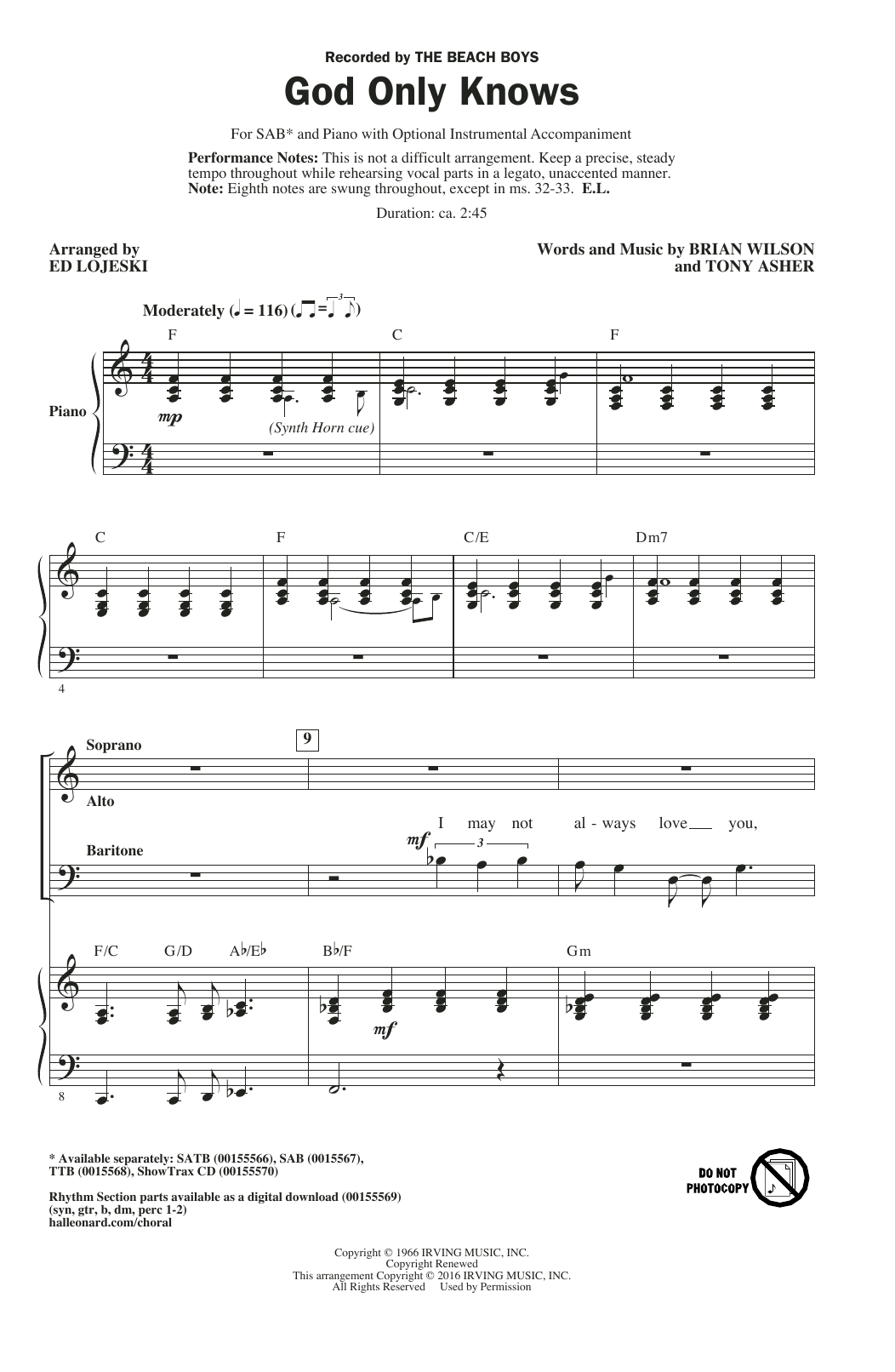 Partition chorale God Only Knows (arr. Ed Lojeski) de The Beach Boys - SAB