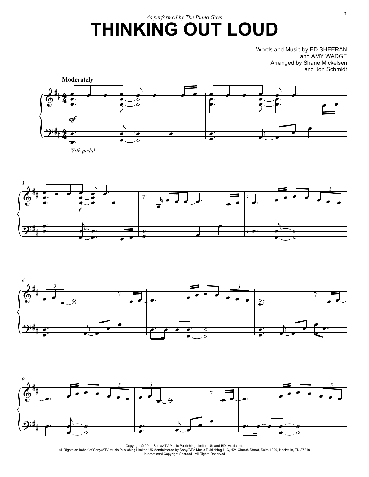 Thinking out loud sheet music direct