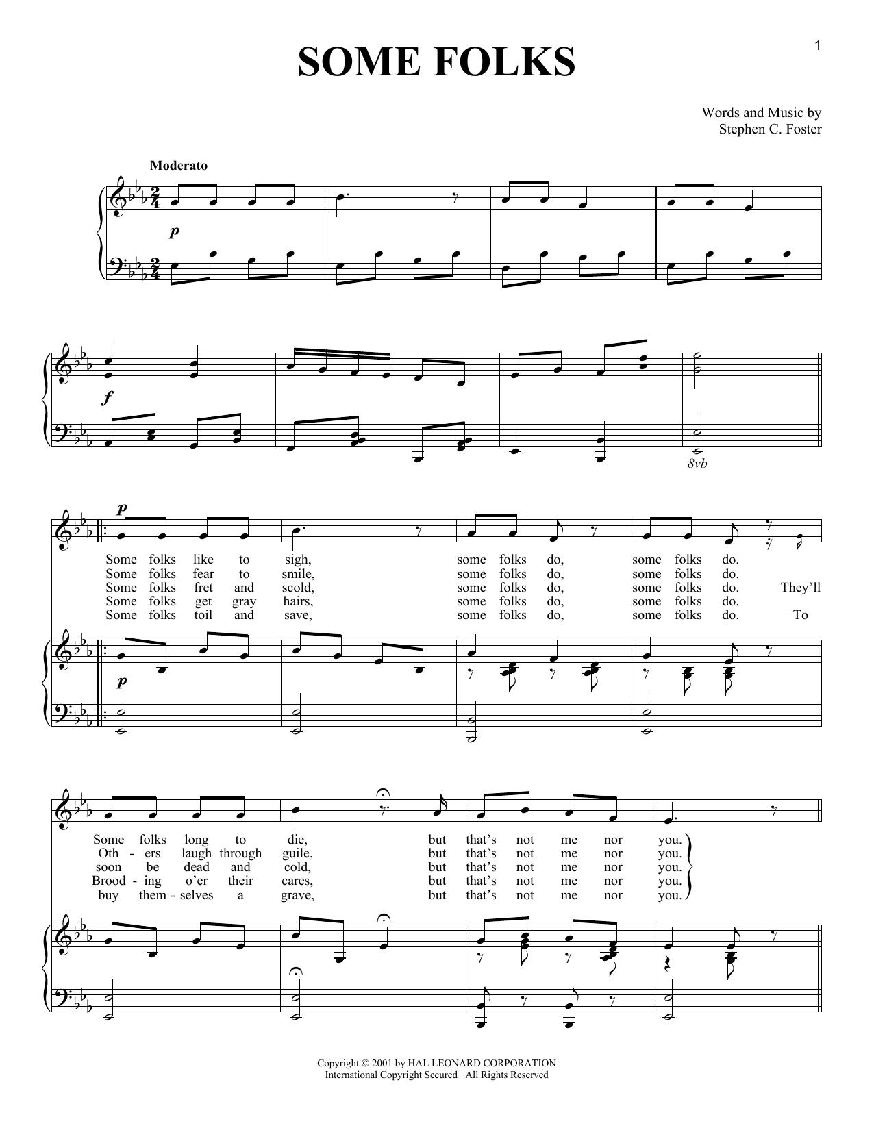 Partition piano Some Folks de Stephen C. Foster - Piano Voix