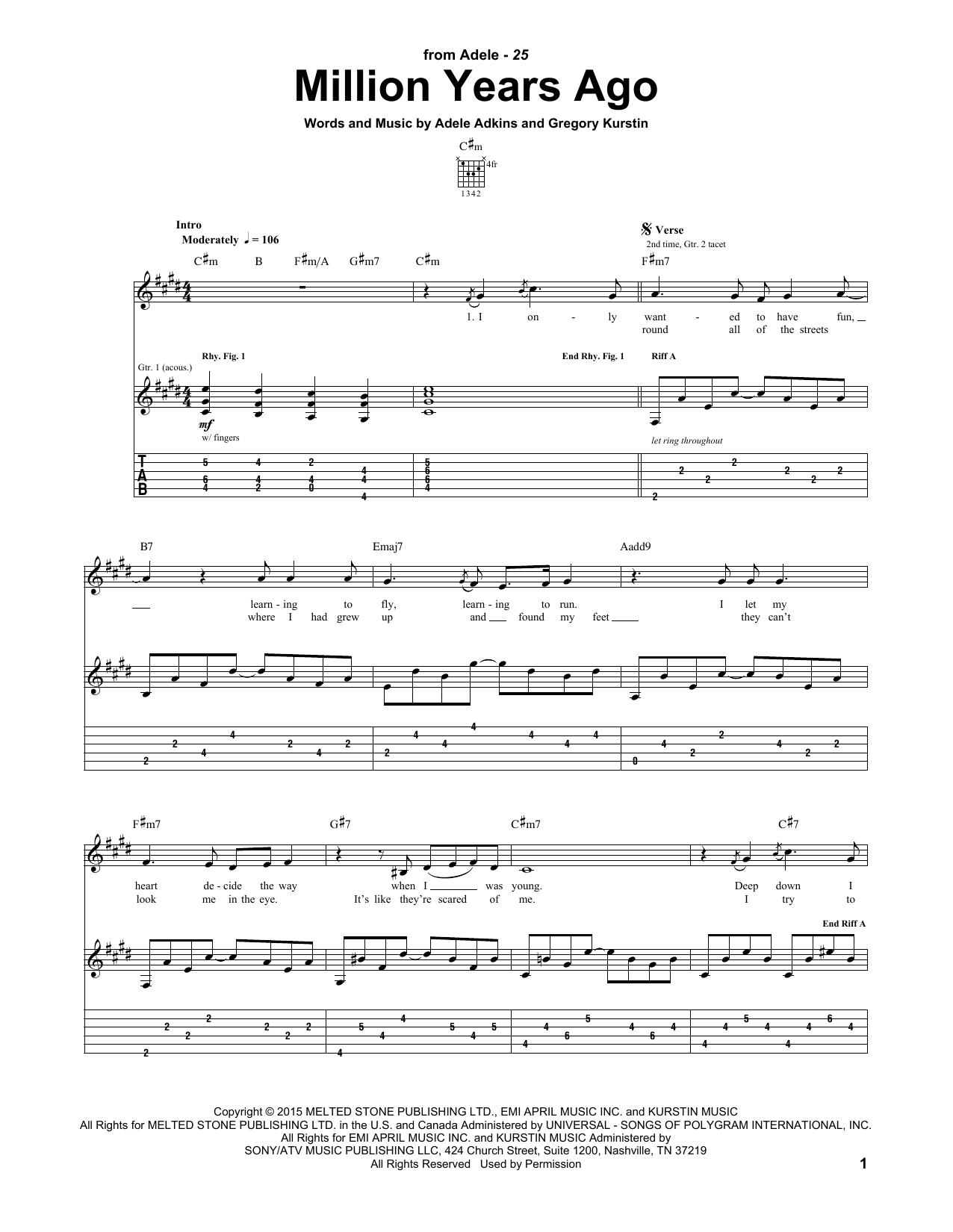 Tablature guitare Million Years Ago de Adele - Tablature Guitare