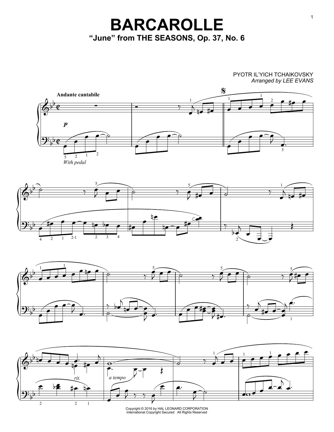 """Partition piano Barcarolle In G Minor (""""June""""), Op. 37, No. 6 de Lee Evans - Piano Solo"""