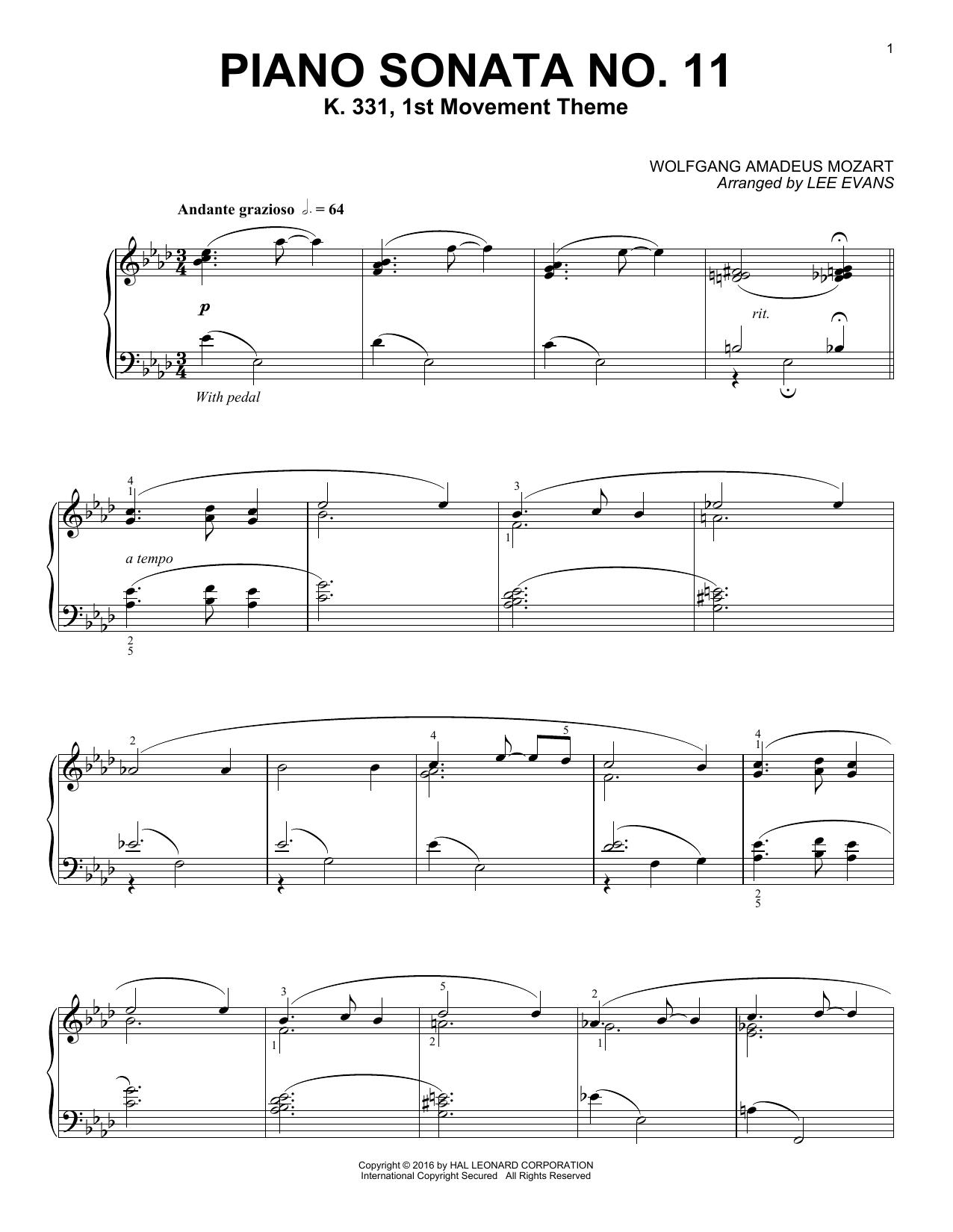 Partition piano Piano Sonata In A Major, K.331, 1st Movement de Lee Evans - Piano Solo