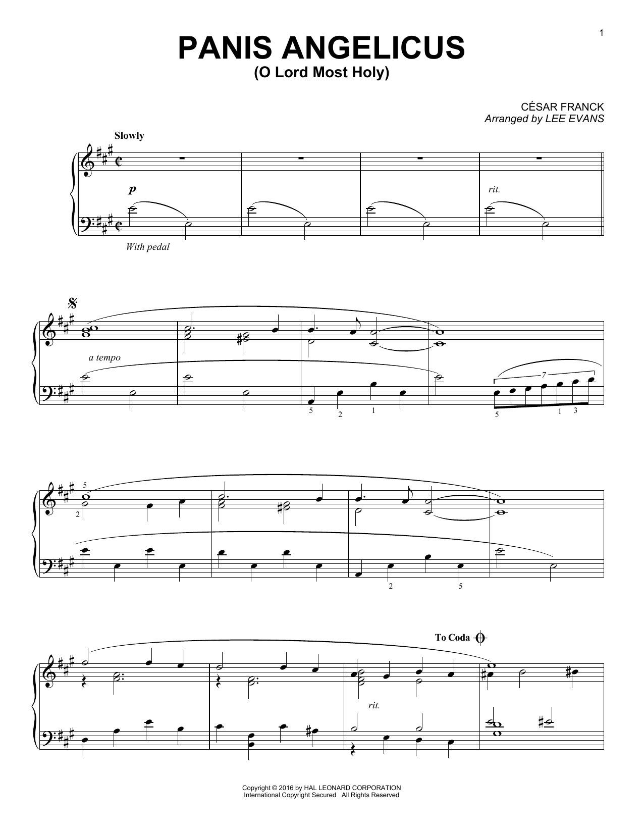 Partition piano Panis Angelicus (O Lord Most Holy) de Lee Evans - Piano Solo