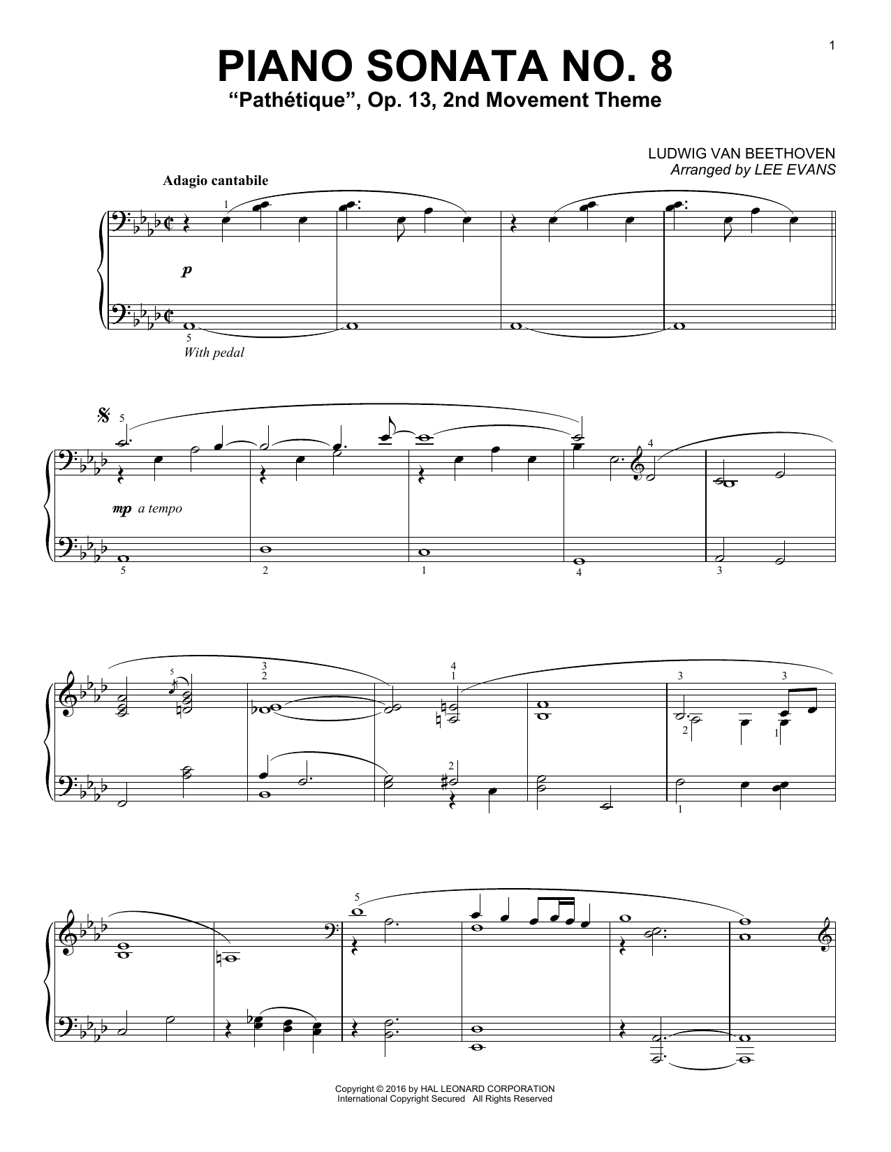 "Partition piano Piano Sonata No. 8, Op. 13 (""Pathetique""), 2nd Movement de Lee Evans - Piano Solo"