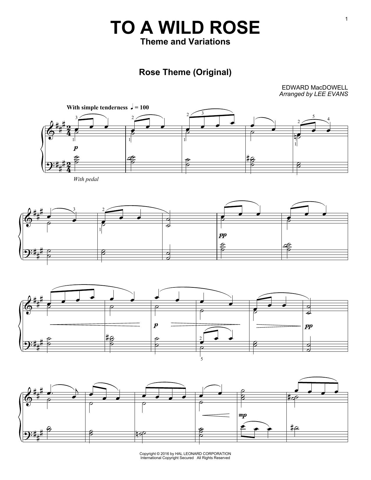 Partition piano To A Wild Rose de Lee Evans - Piano Solo