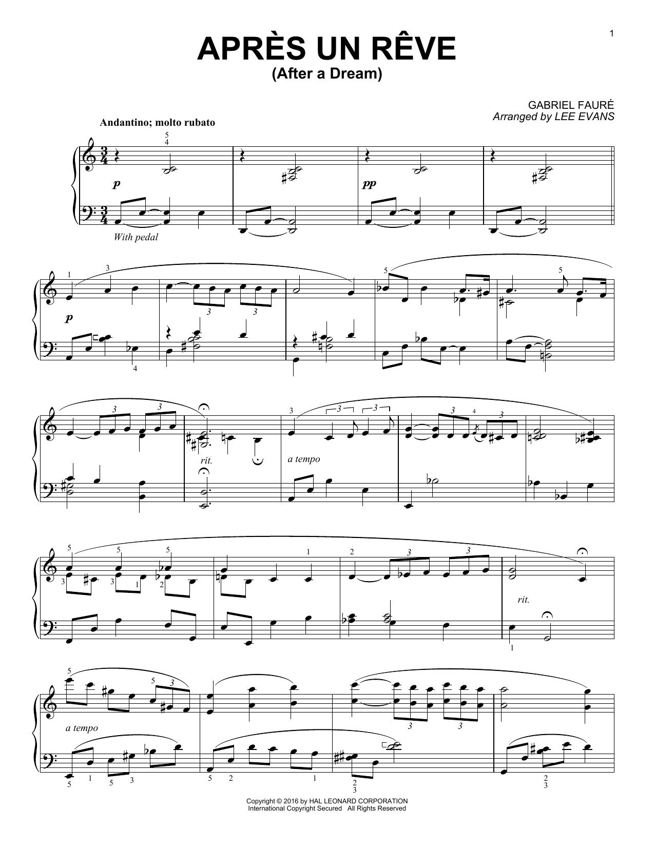 Partition piano Apres un reve de Lee Evans - Piano Solo