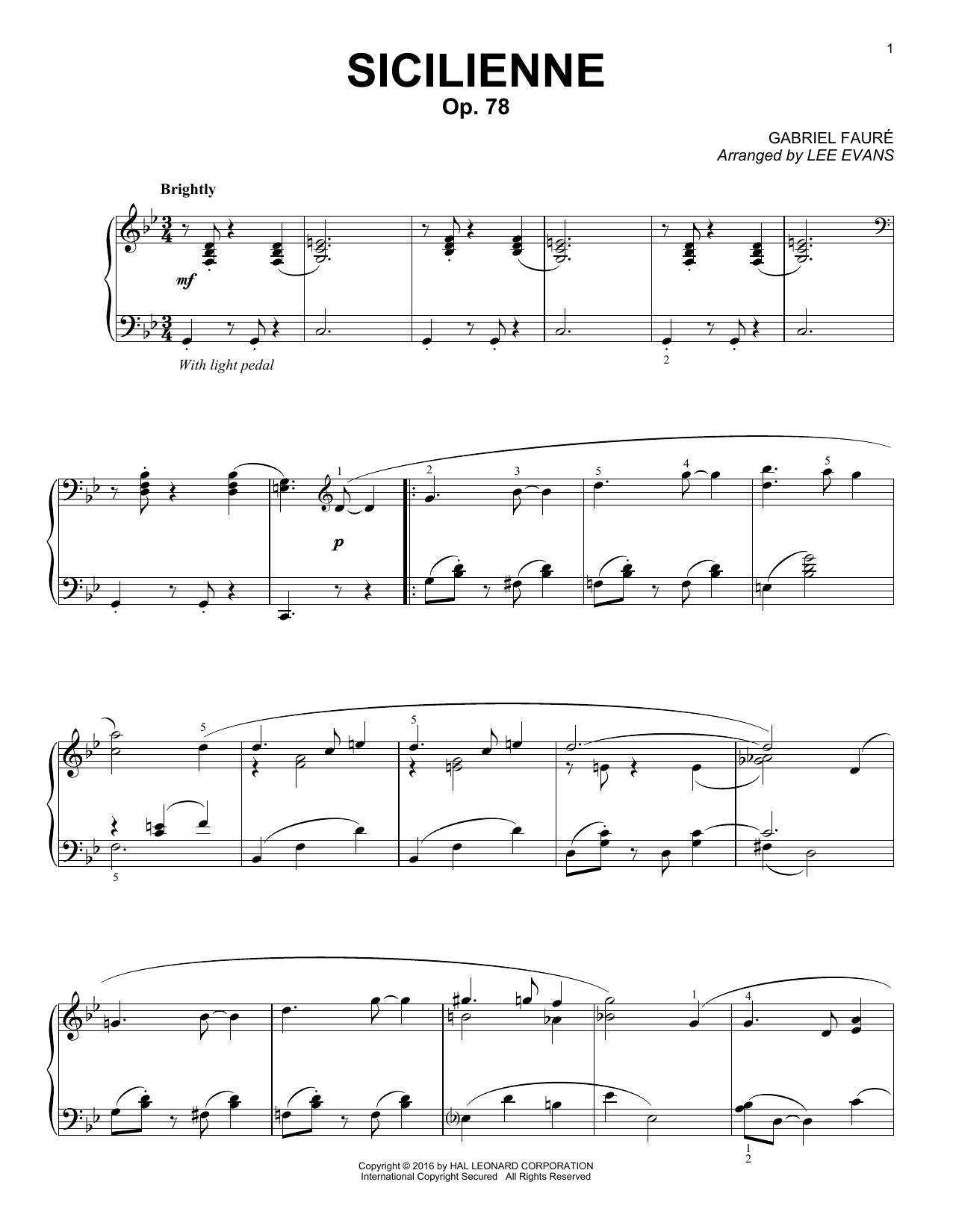 Partition piano Sicilienne de Lee Evans - Piano Solo