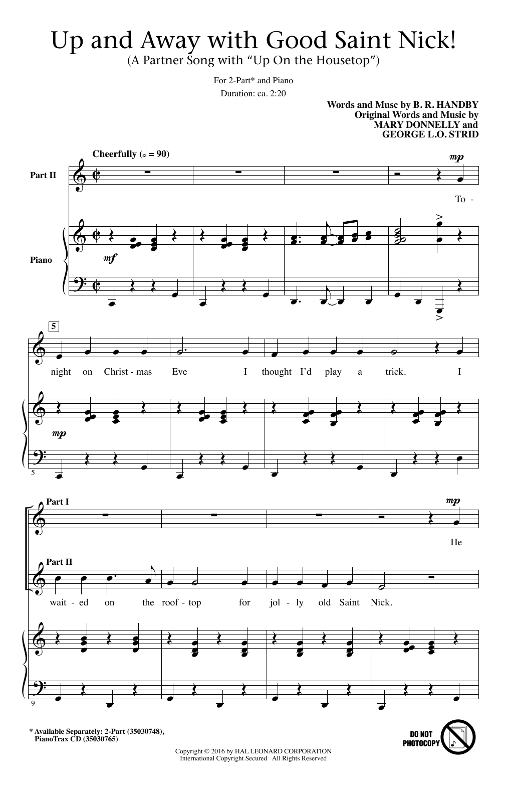 """Partition chorale Up And Away With Good Saint Nick (A Partner Song With """"Up On The Housetop"""") de George L.O. Strid - 2 voix"""