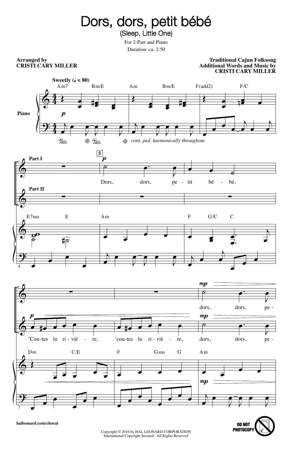 Partition chorale Dors, Dors, Petit Bebe (Sleep, Little One) de Cristi Cary Miller - 2 voix
