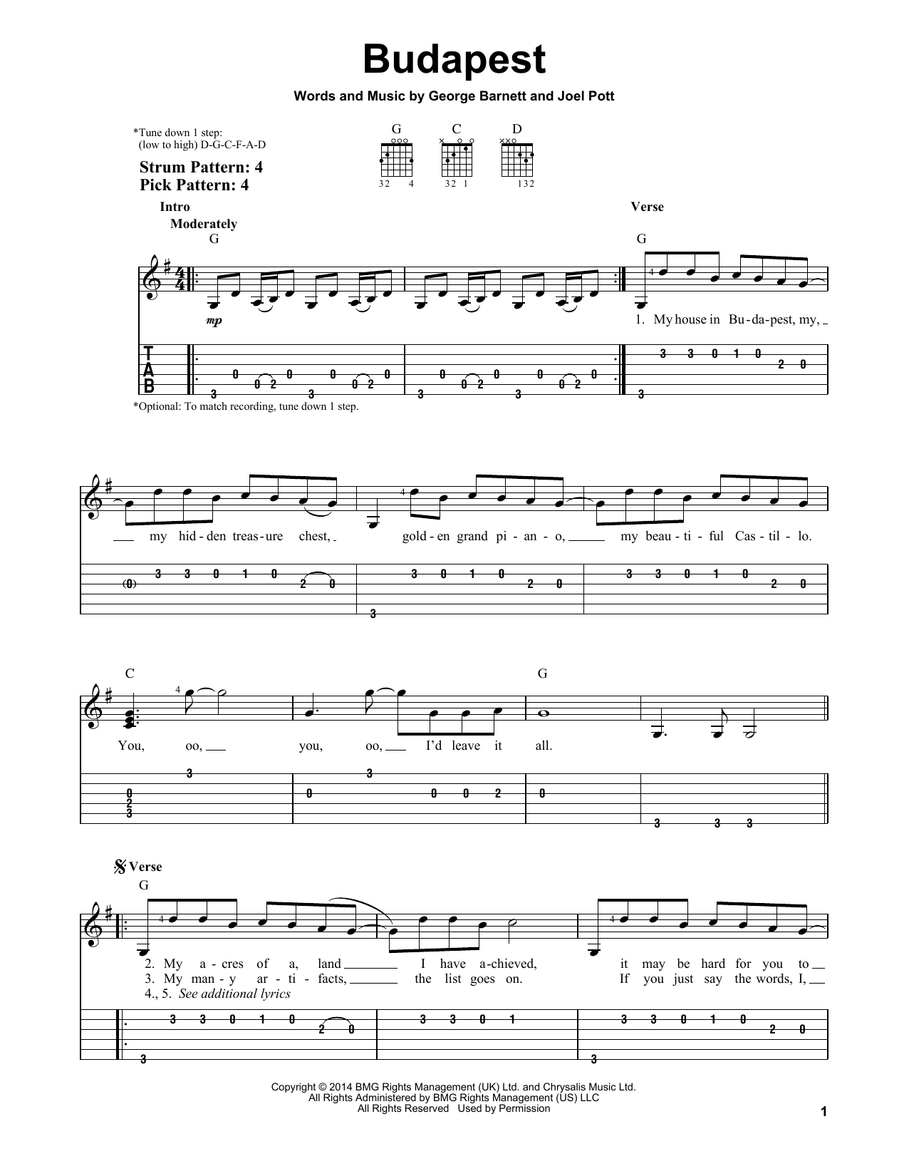 Tablature guitare Budapest de George Ezra - Tablature guitare facile