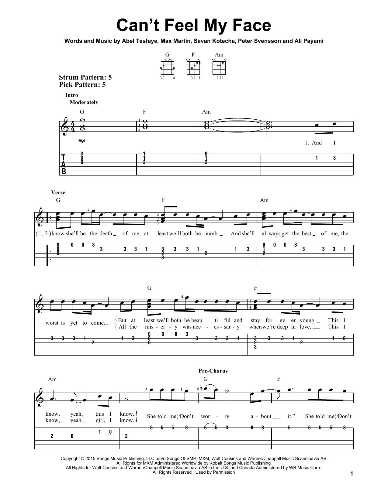 Tablature guitare Can't Feel My Face de The Weeknd - Tablature guitare facile