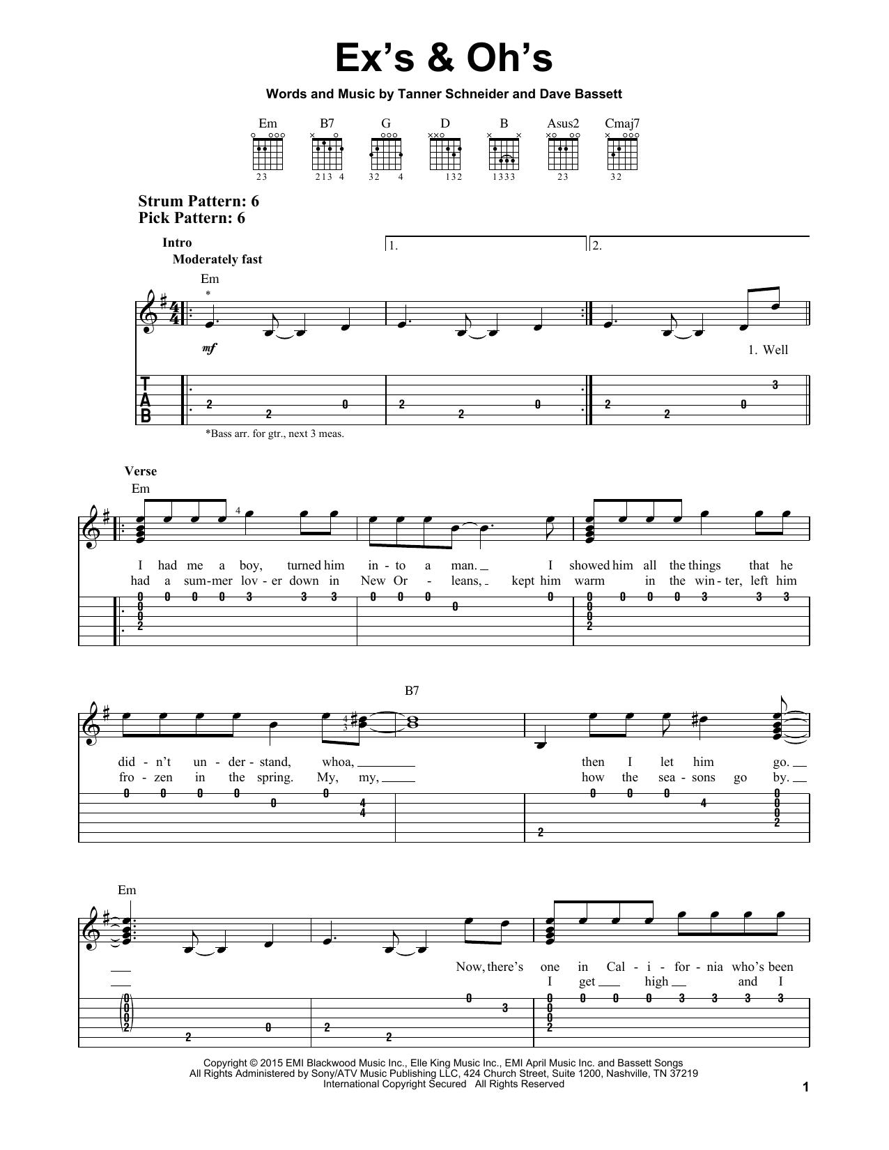 Tablature guitare Ex's & Oh's de Elle King - Tablature guitare facile