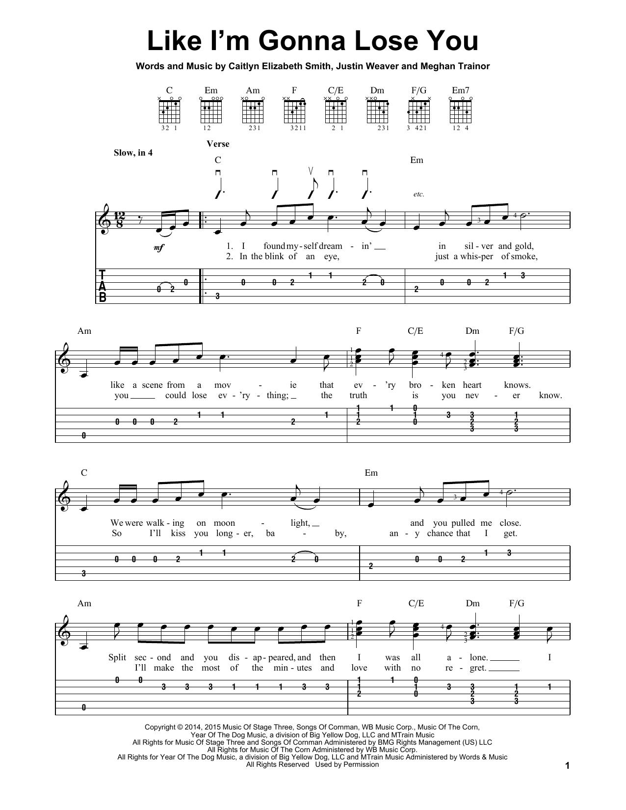 Tablature guitare Like I'm Gonna Lose You de Meghan Trainor - Tablature guitare facile