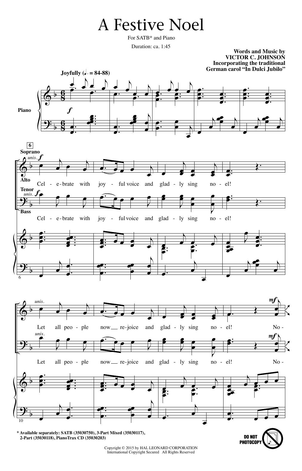 Partition chorale A Festive Noel de Victor Johnson - SATB