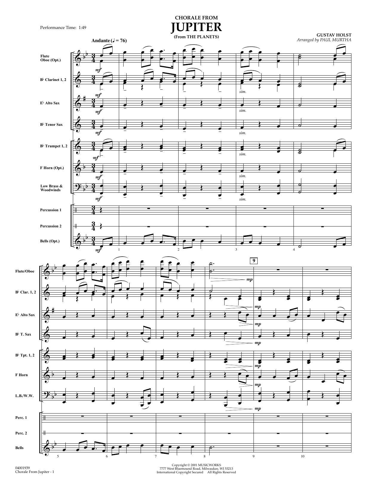 Chorale from Jupiter (COMPLETE) sheet music for concert band by Gustav Holst