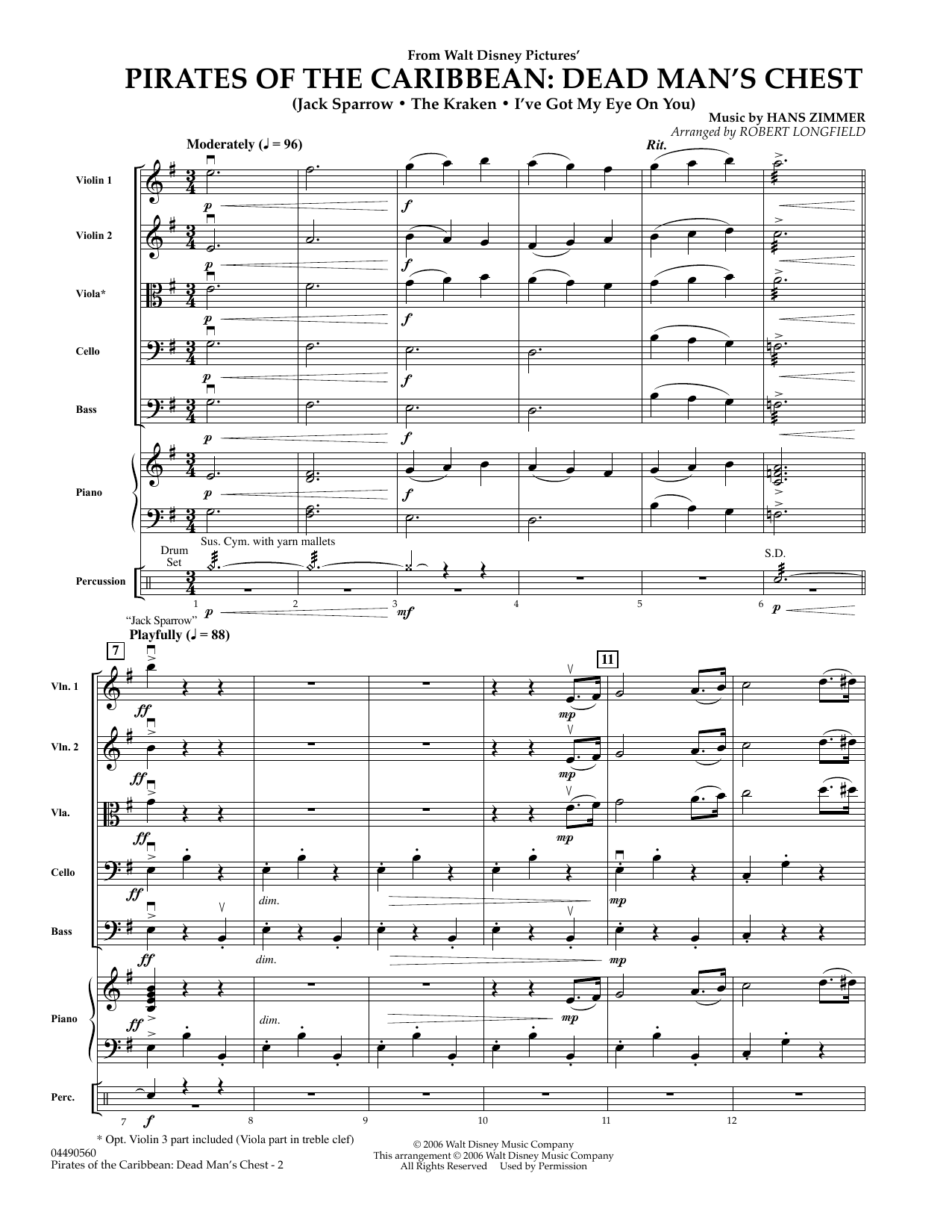 Pirates of the Caribbean: Dead Man's Chest (COMPLETE) sheet music for orchestra by Hans Zimmer
