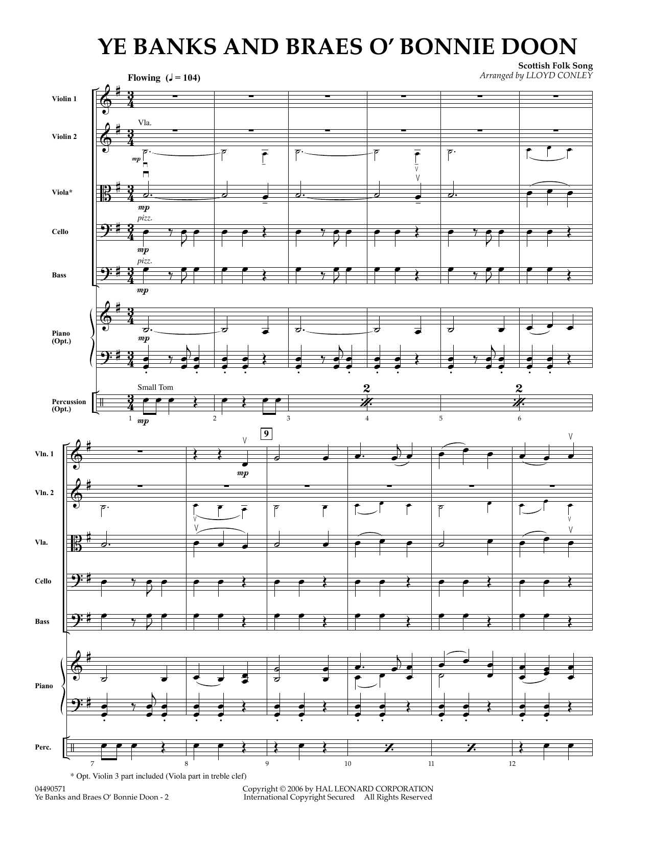 Ye Banks and Braes O' Bonnie Doon (COMPLETE) sheet music for orchestra by Robert Burns
