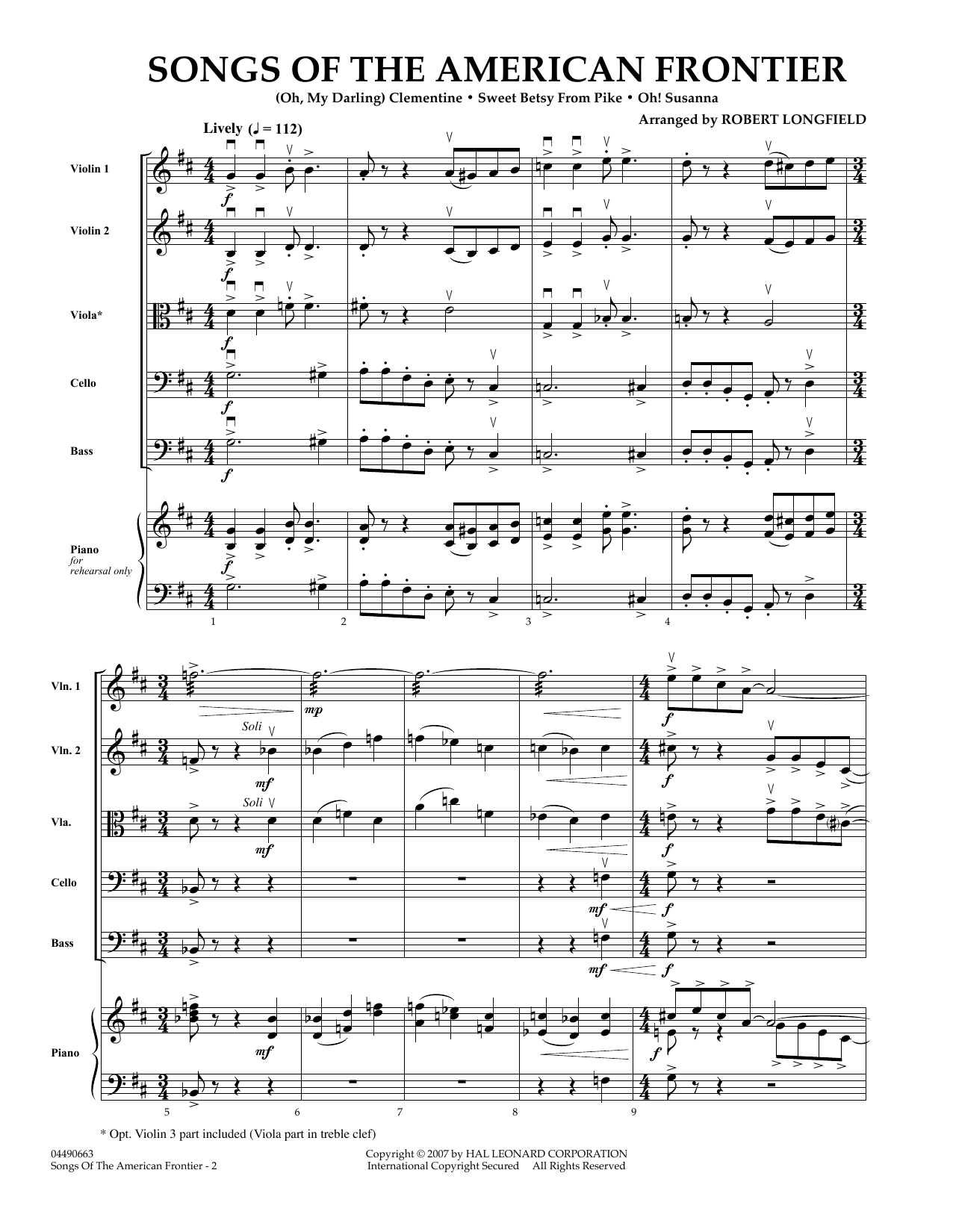 Songs Of The American Frontier (COMPLETE) sheet music for orchestra by Robert Longfield