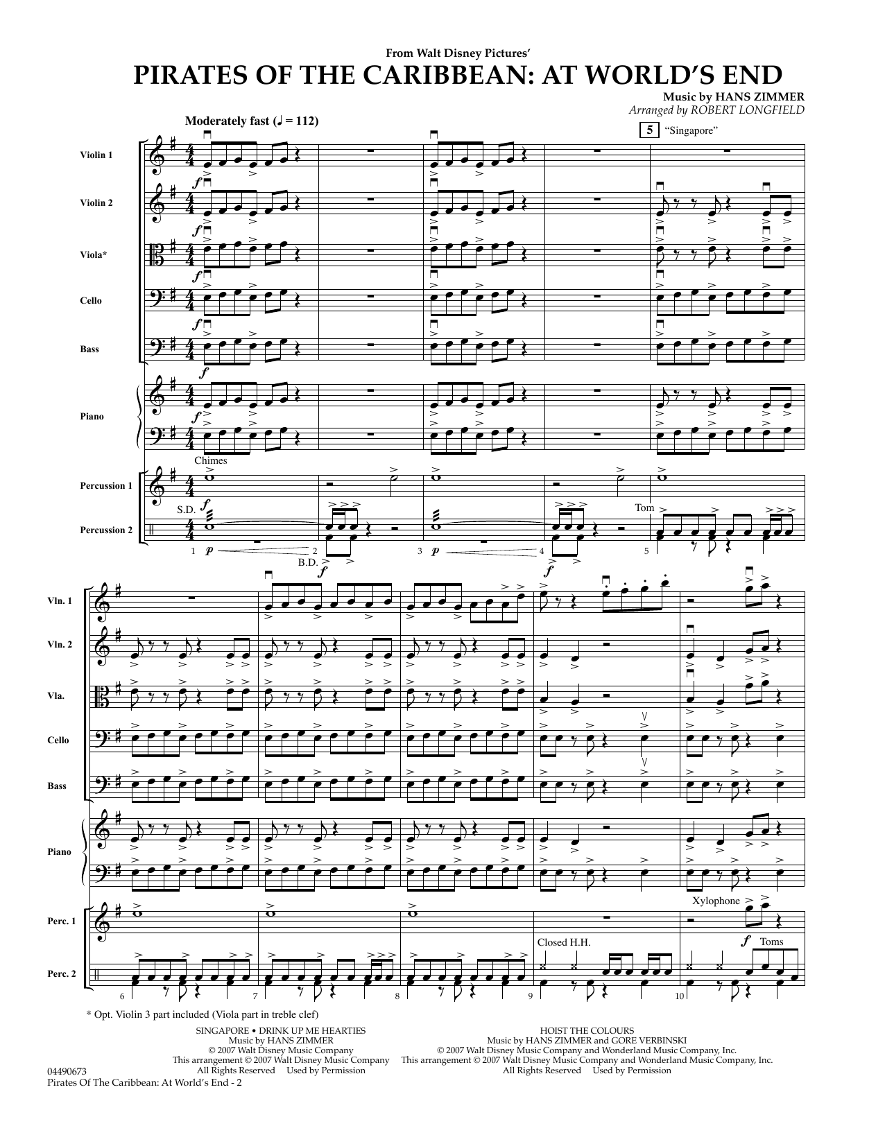 Pirates of the Caribbean: At World's End (COMPLETE) sheet music for orchestra by Robert Longfield