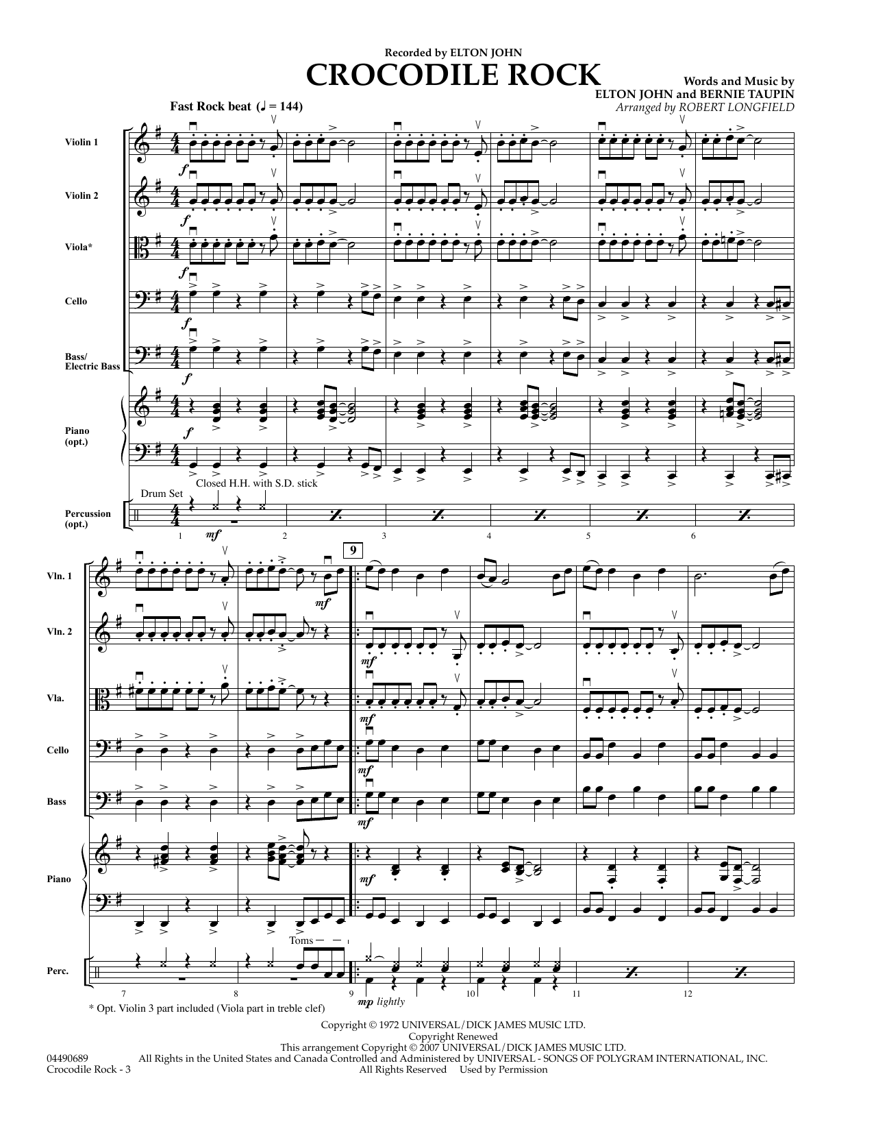 Crocodile Rock (COMPLETE) sheet music for orchestra by Robert Longfield