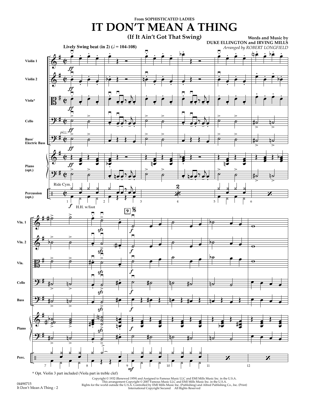 It Don't Mean A Thing (COMPLETE) sheet music for orchestra by Robert Longfield