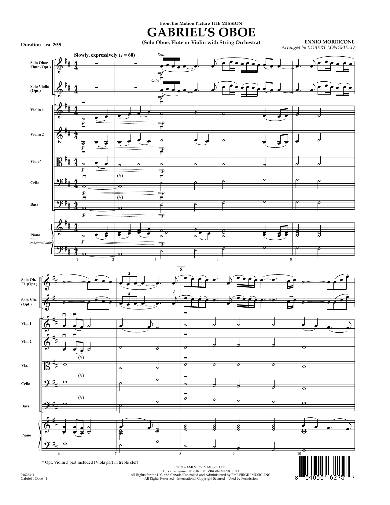 Gabriel's Oboe (from The Mission) (COMPLETE) sheet music for orchestra by Robert Longfield