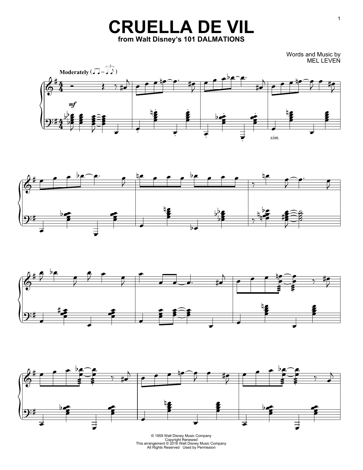 Partition piano Cruella De Vil de Mel Leven - Piano Solo